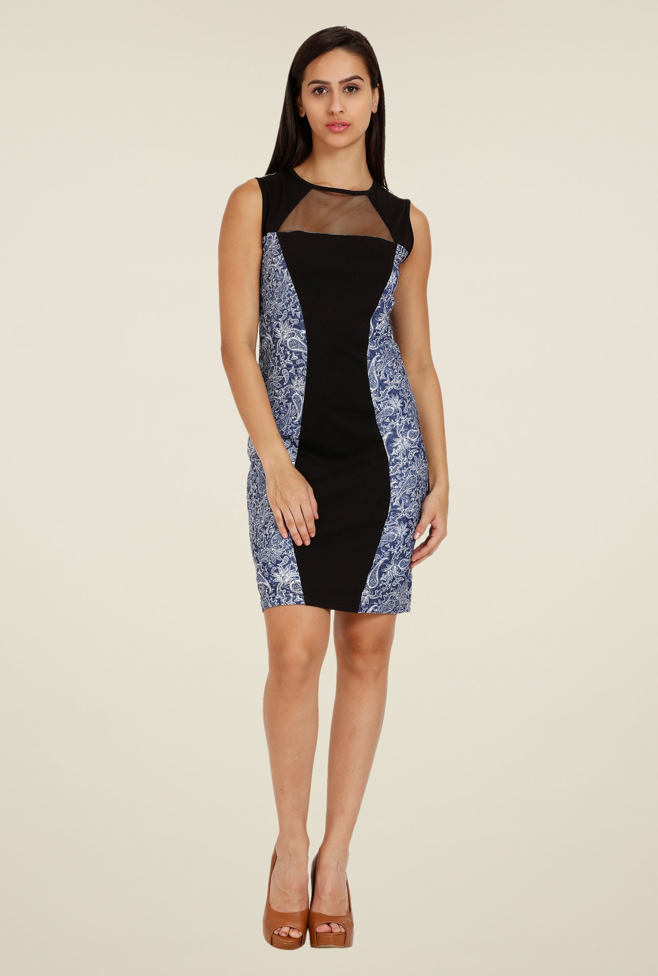 Forever Fashion Navy Paisley Print Dress
