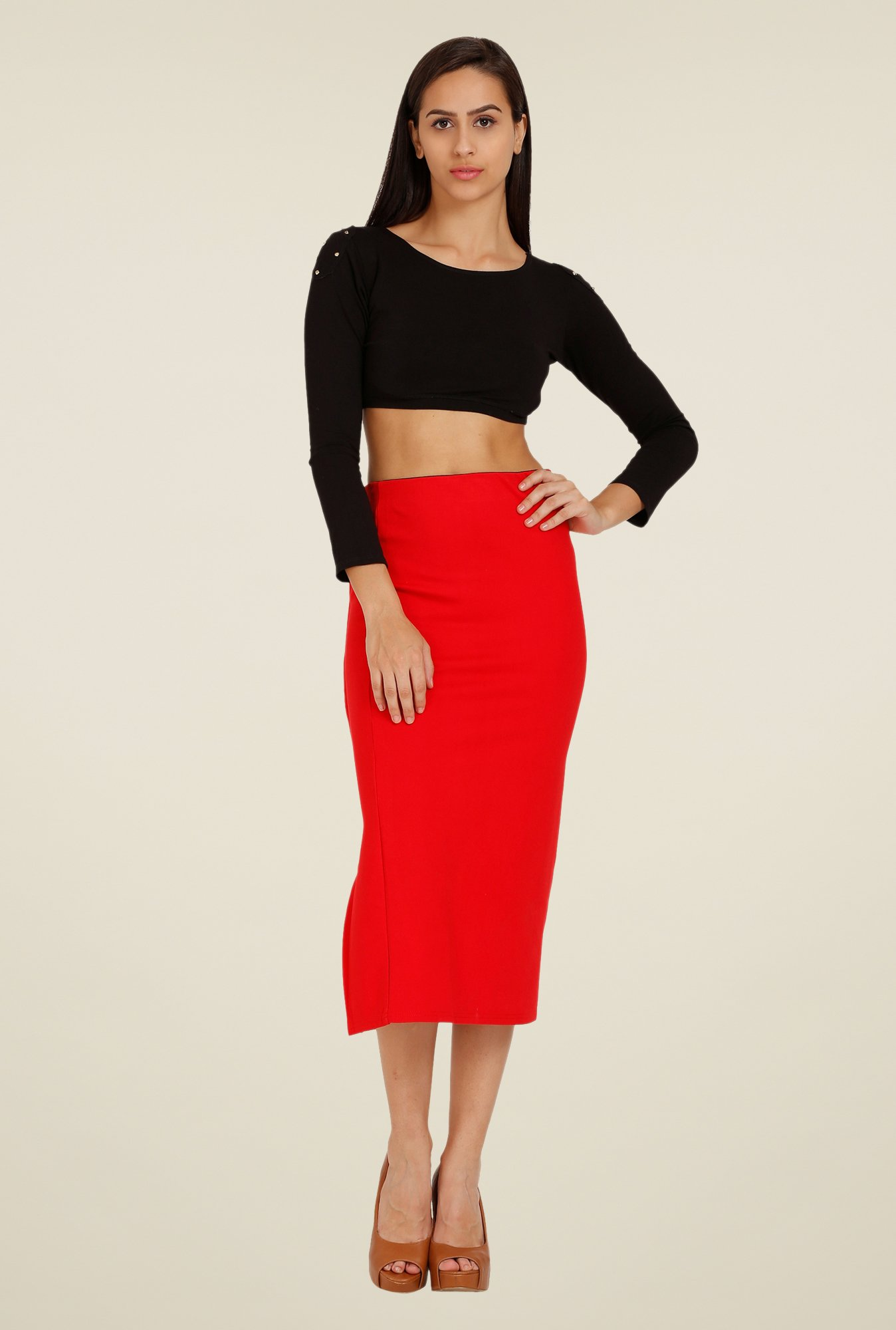 Forever Fashion Red Solid Skirt