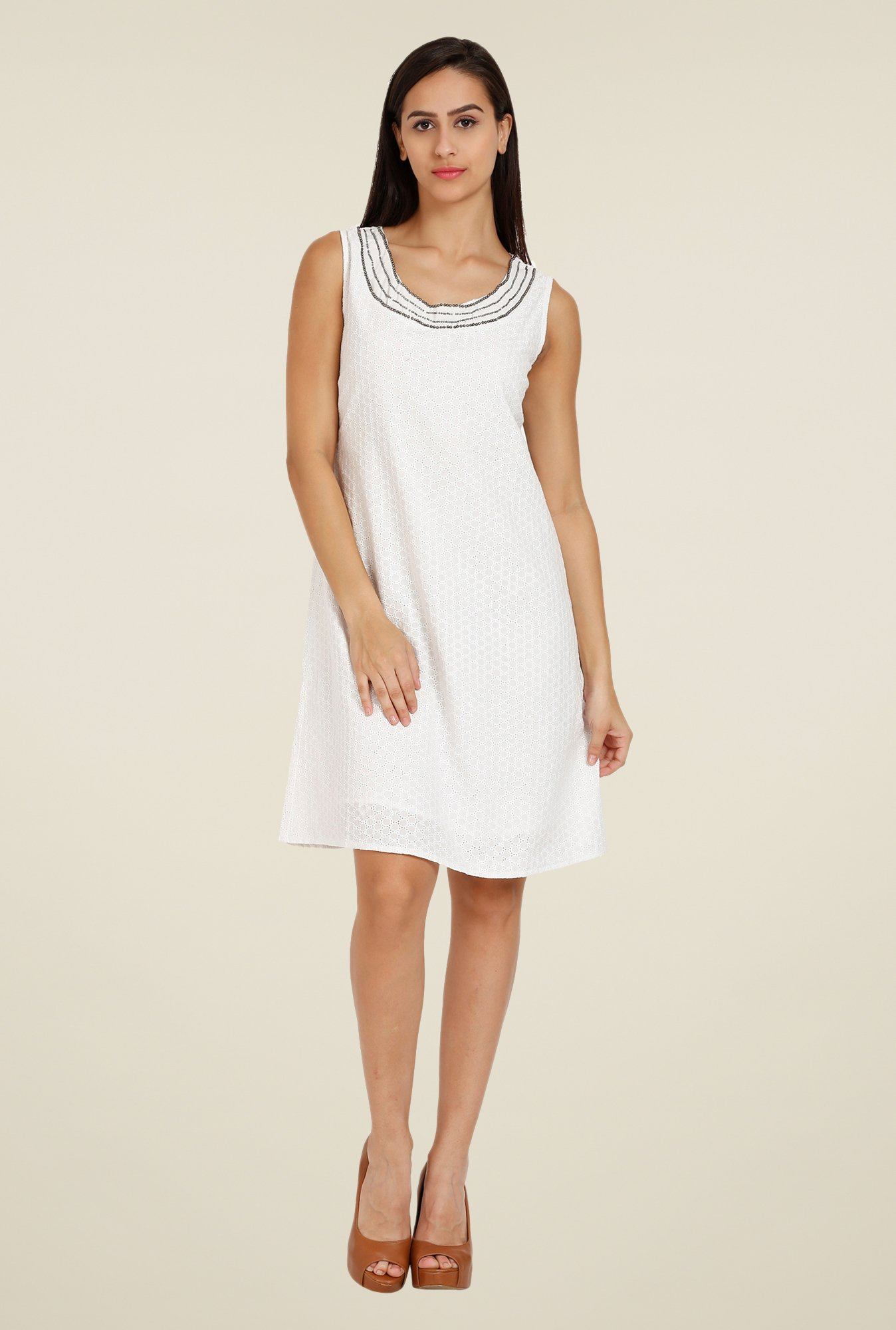 Forever Fashion White Self Print Dress