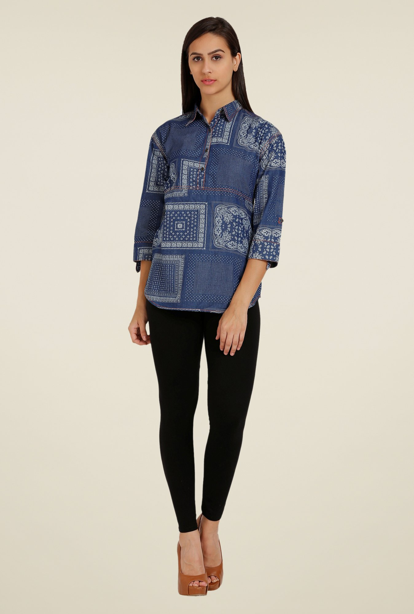 Forever Fashion Denim Blue Printed Shirt
