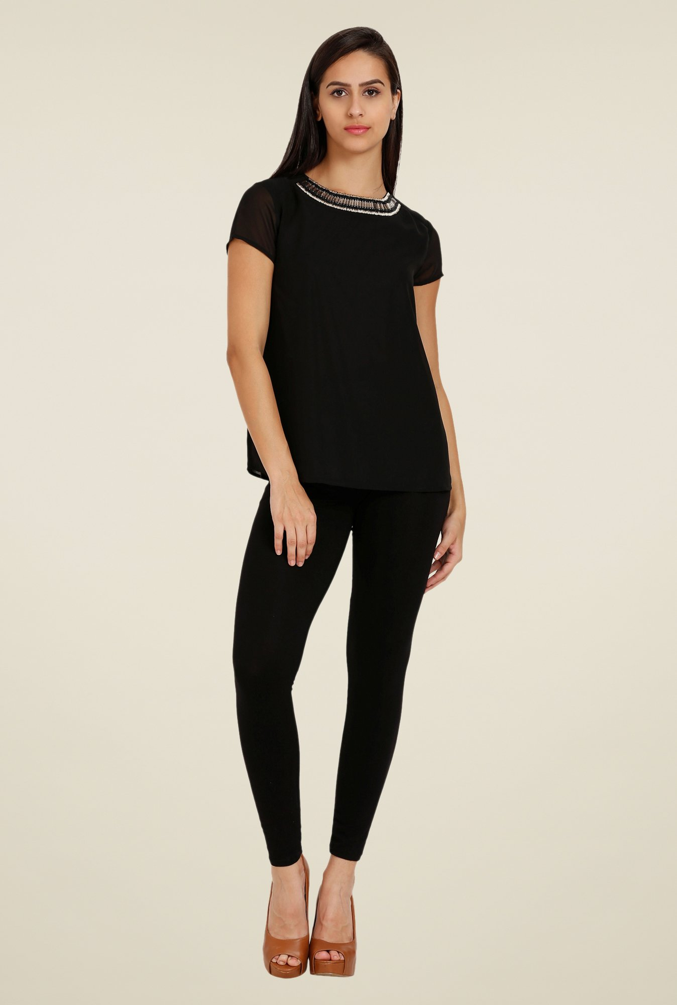 Forever Fashion Black Solid Top