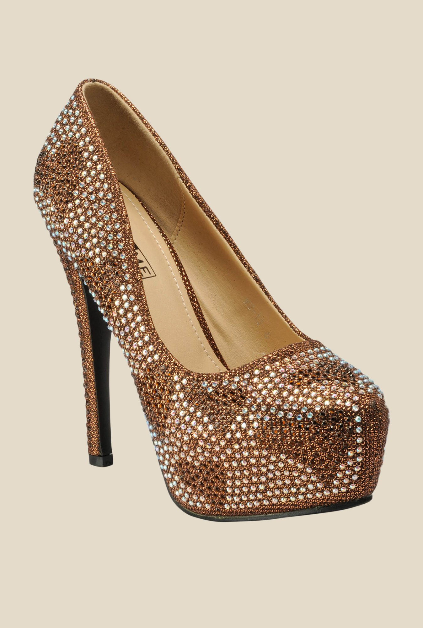 Yepme Bronze & White Stiletto Pumps