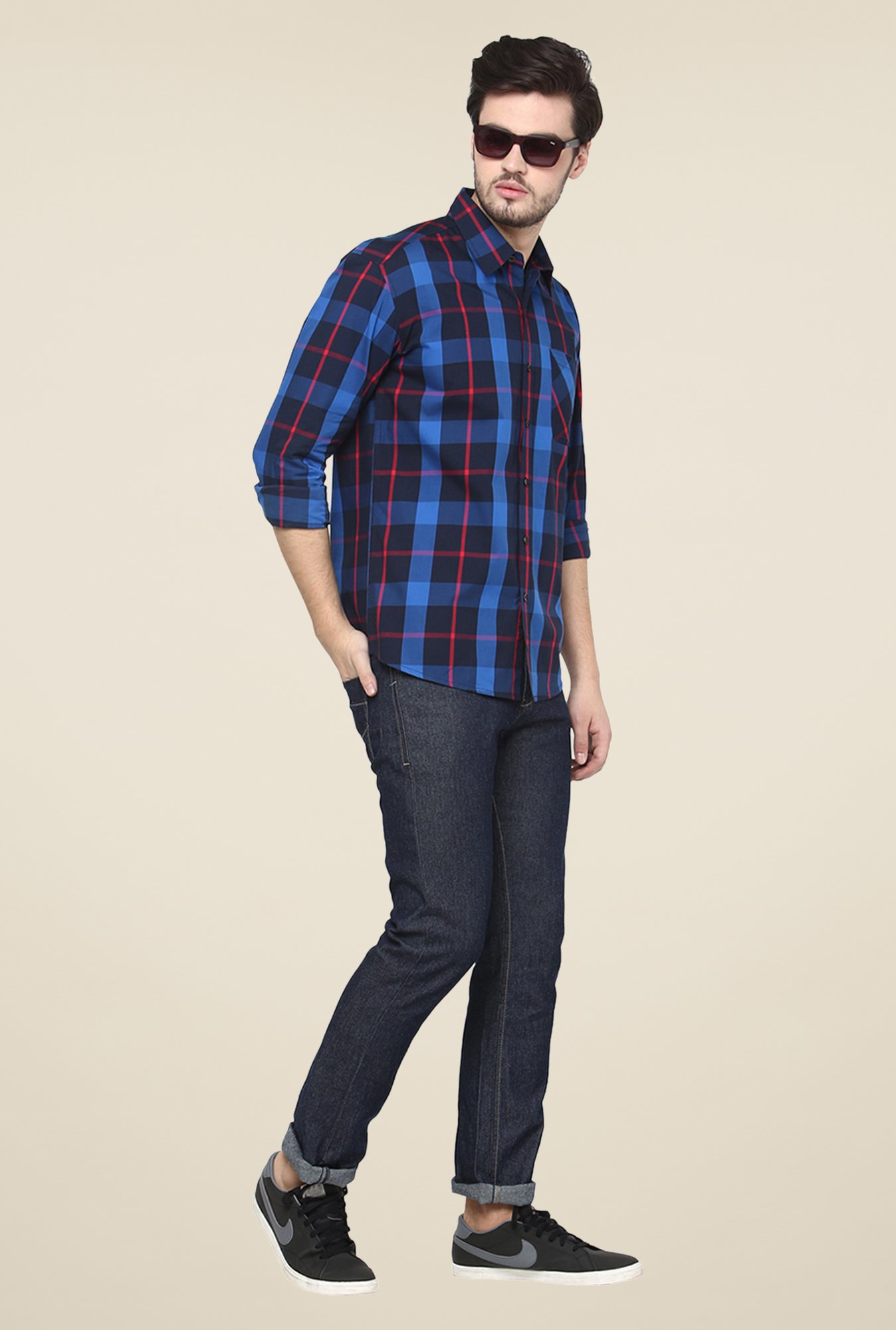 Yepme Blue Premium Checks Shirt