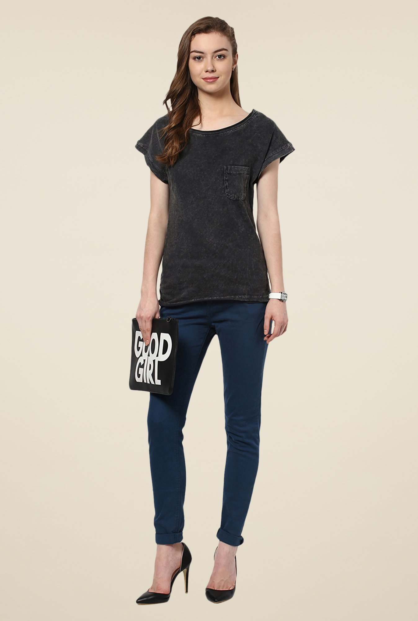 Yepme Clarisa Black Acid Wash Top