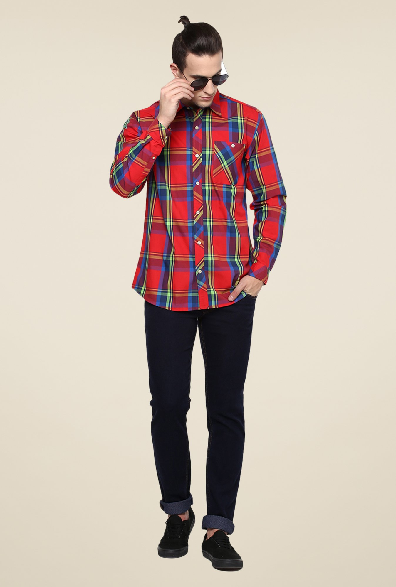 Yepme Red Premium Checks Cotton Shirt