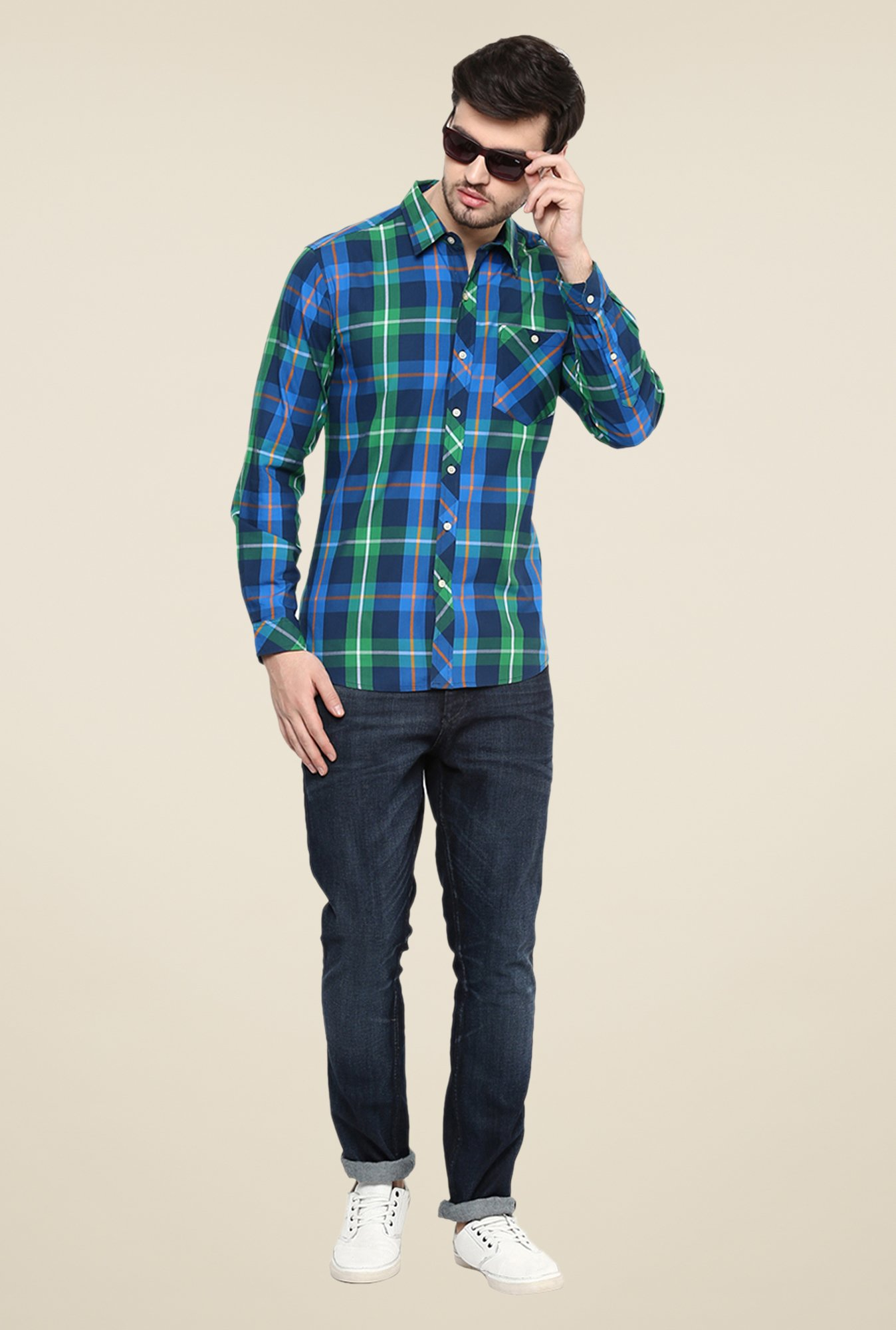 Yepme Blue & Green Premium Checks Shirt