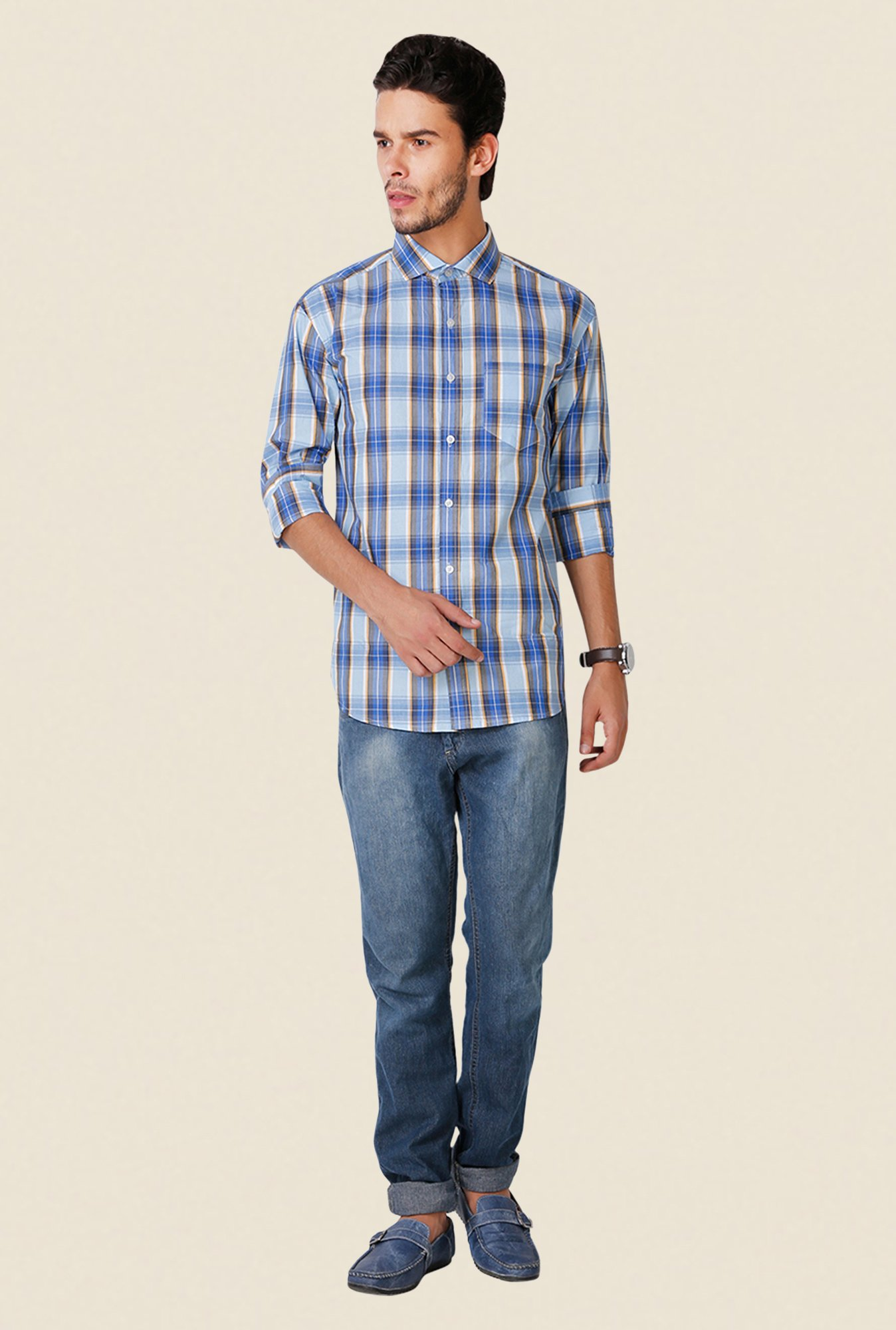 Yepme Blue Wilmar Premium Regular Fit Shirt