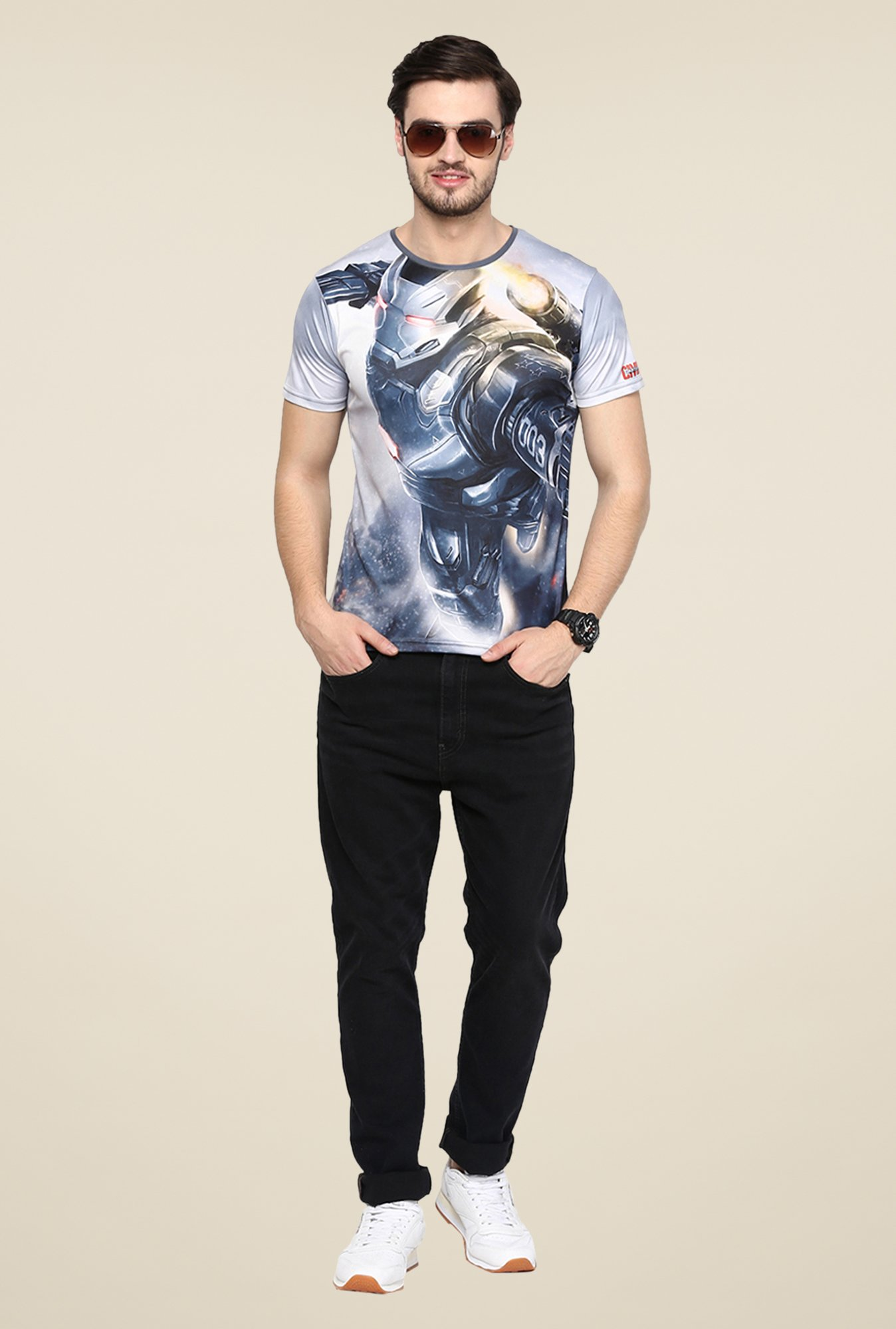 Yepme Grey Civil War Machine Graphic Print T Shirt