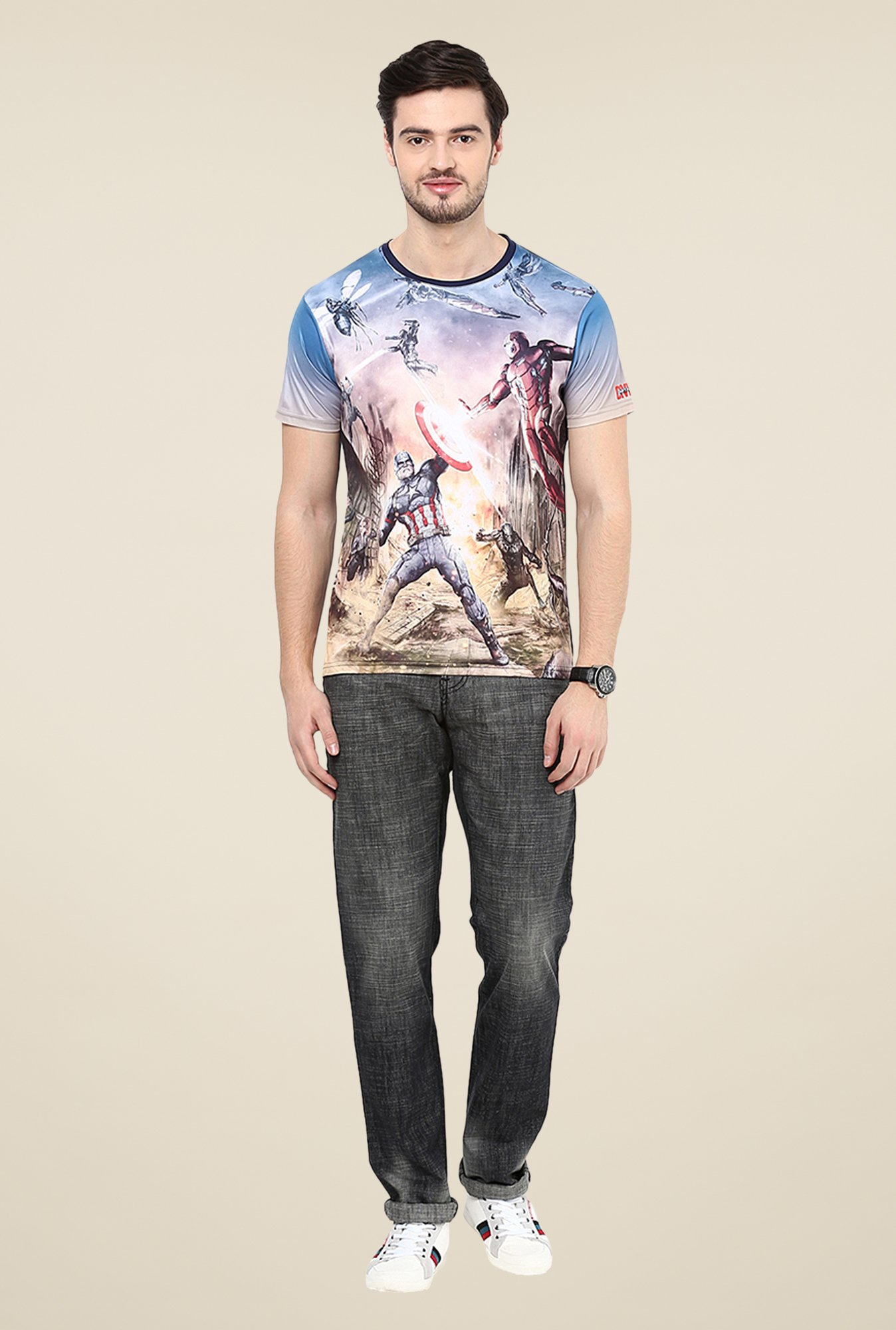 Yepme Blue Civil War Scene Graphic Print T Shirt