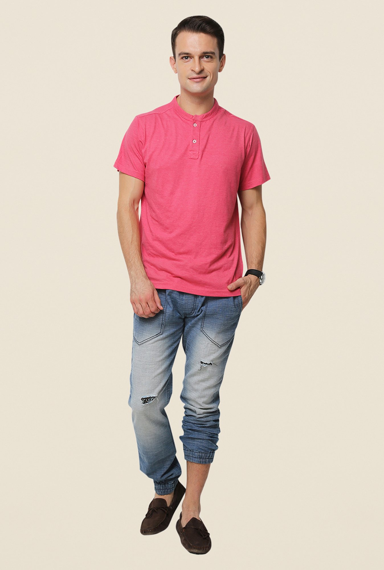 Yepme Pink Jerry Premium Solid Henley T Shirt