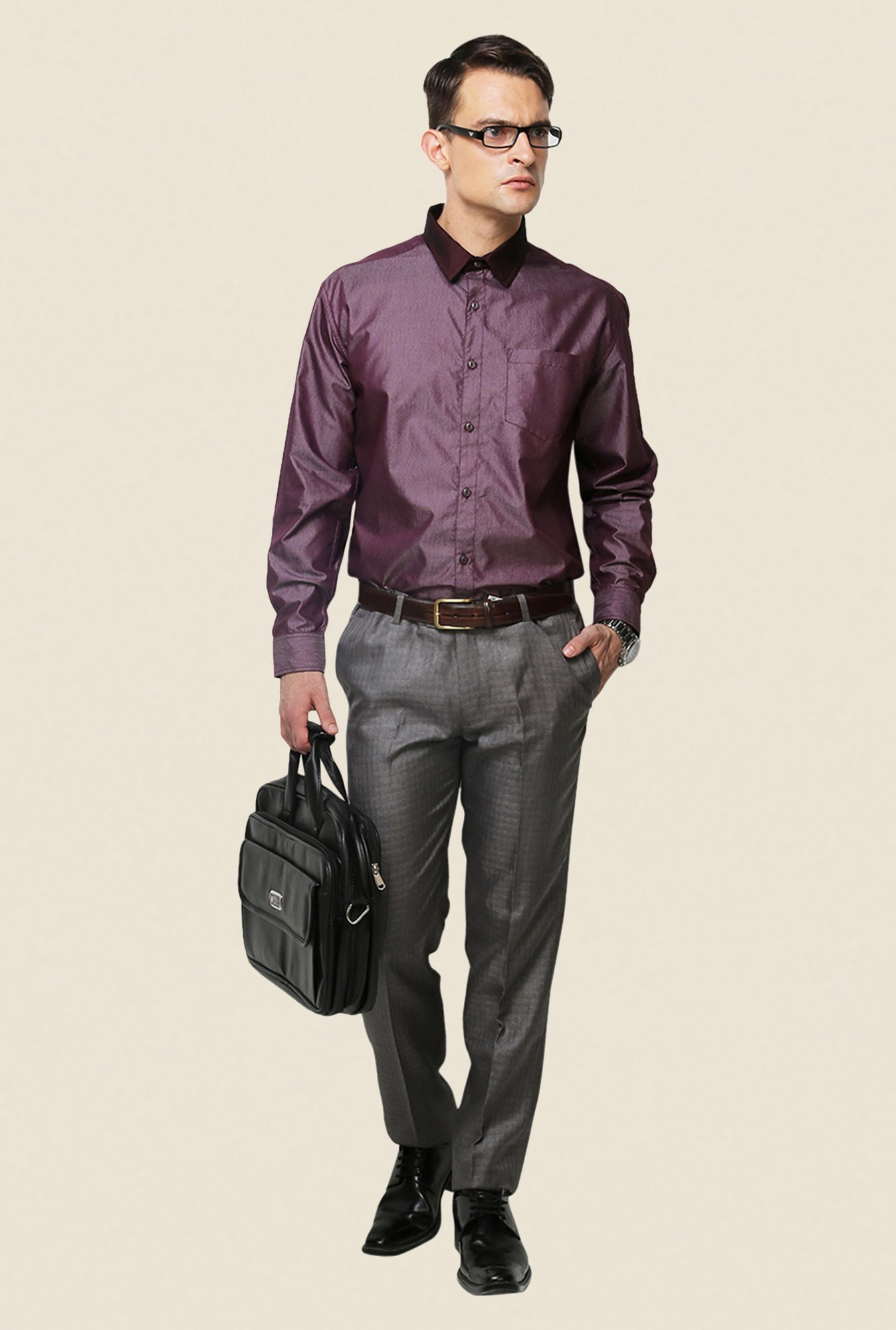 Yepme Purple Schaffer Premium Regular Fit Shirt