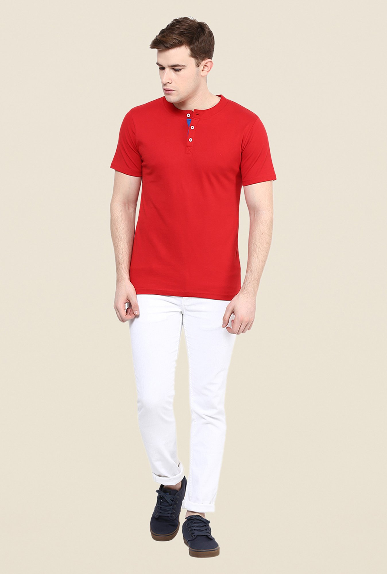 Yepme Red Rolf Rofl Solid Henley T Shirt