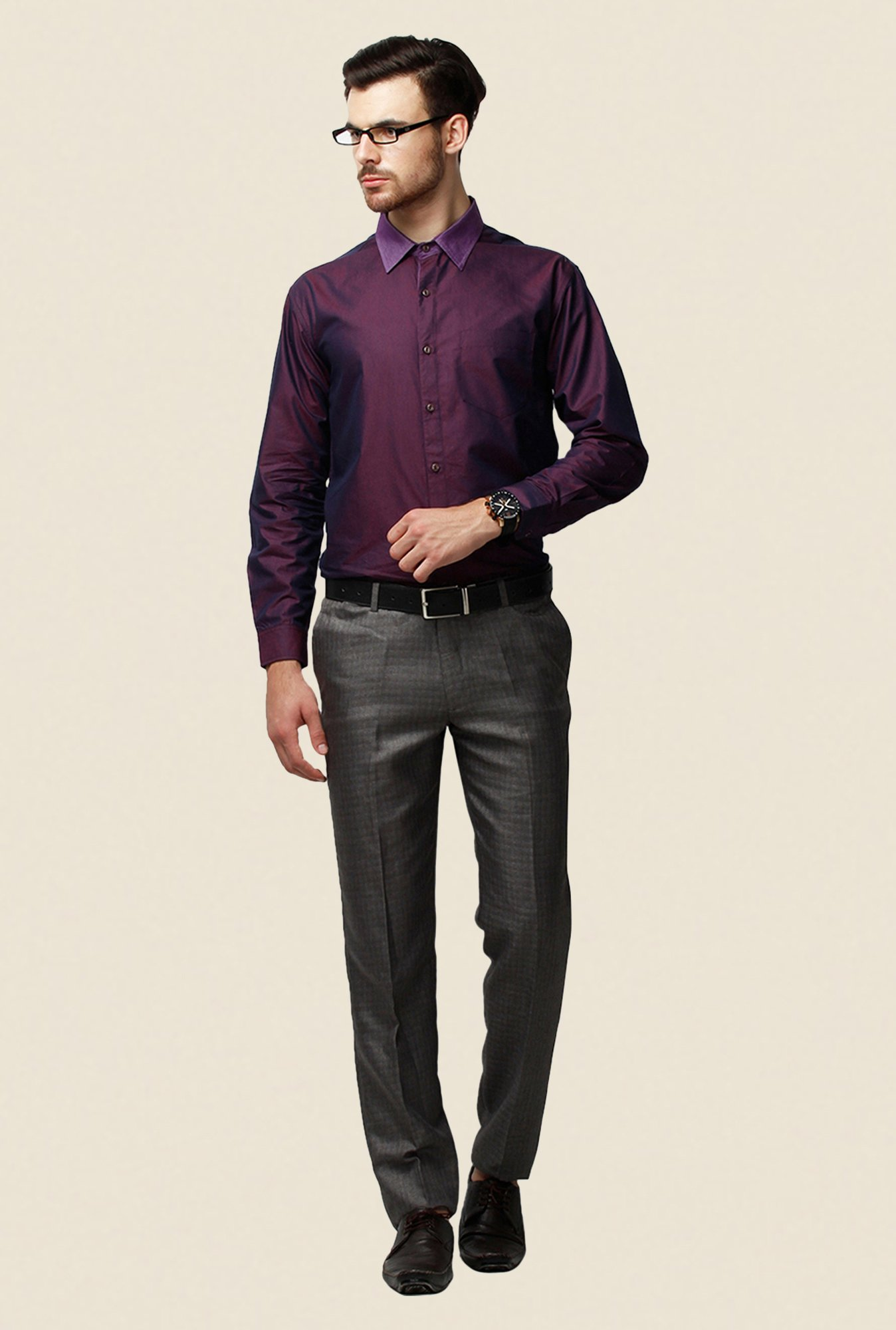 Yepme Purple Solid Schaffer Regular Fit Premium Shirt