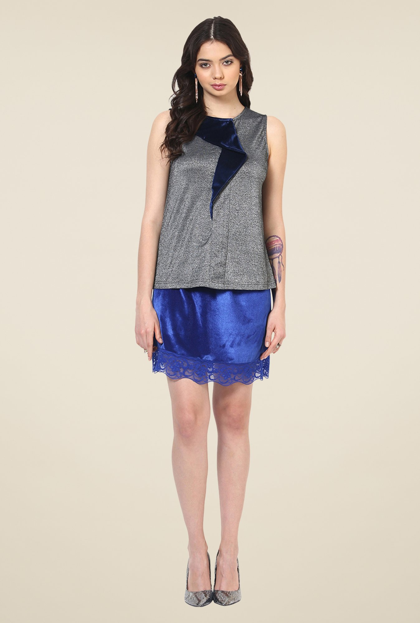 Yepme Mia Grey & Blue Party Top