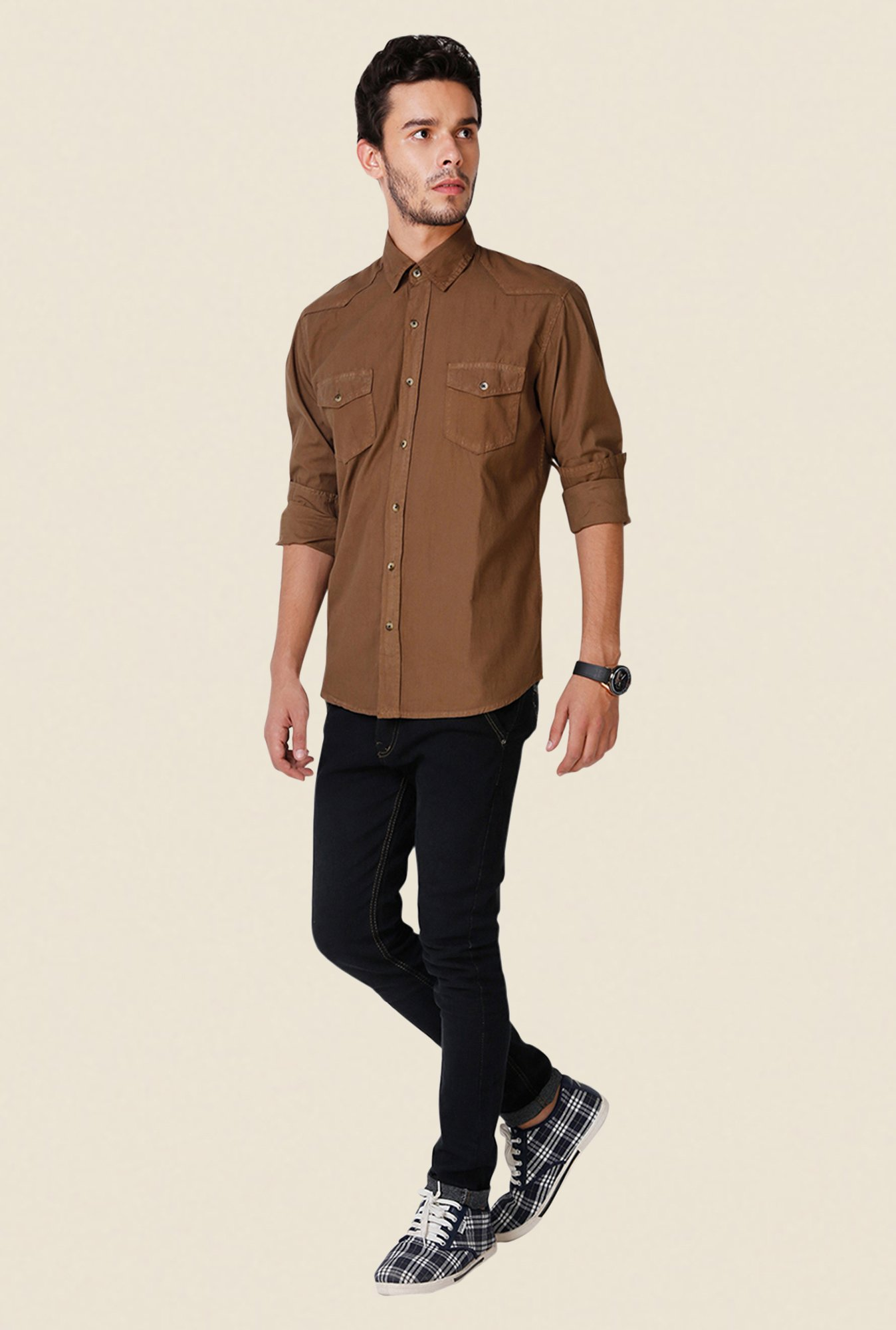 Yepme Brown Freddo Premium Shirt