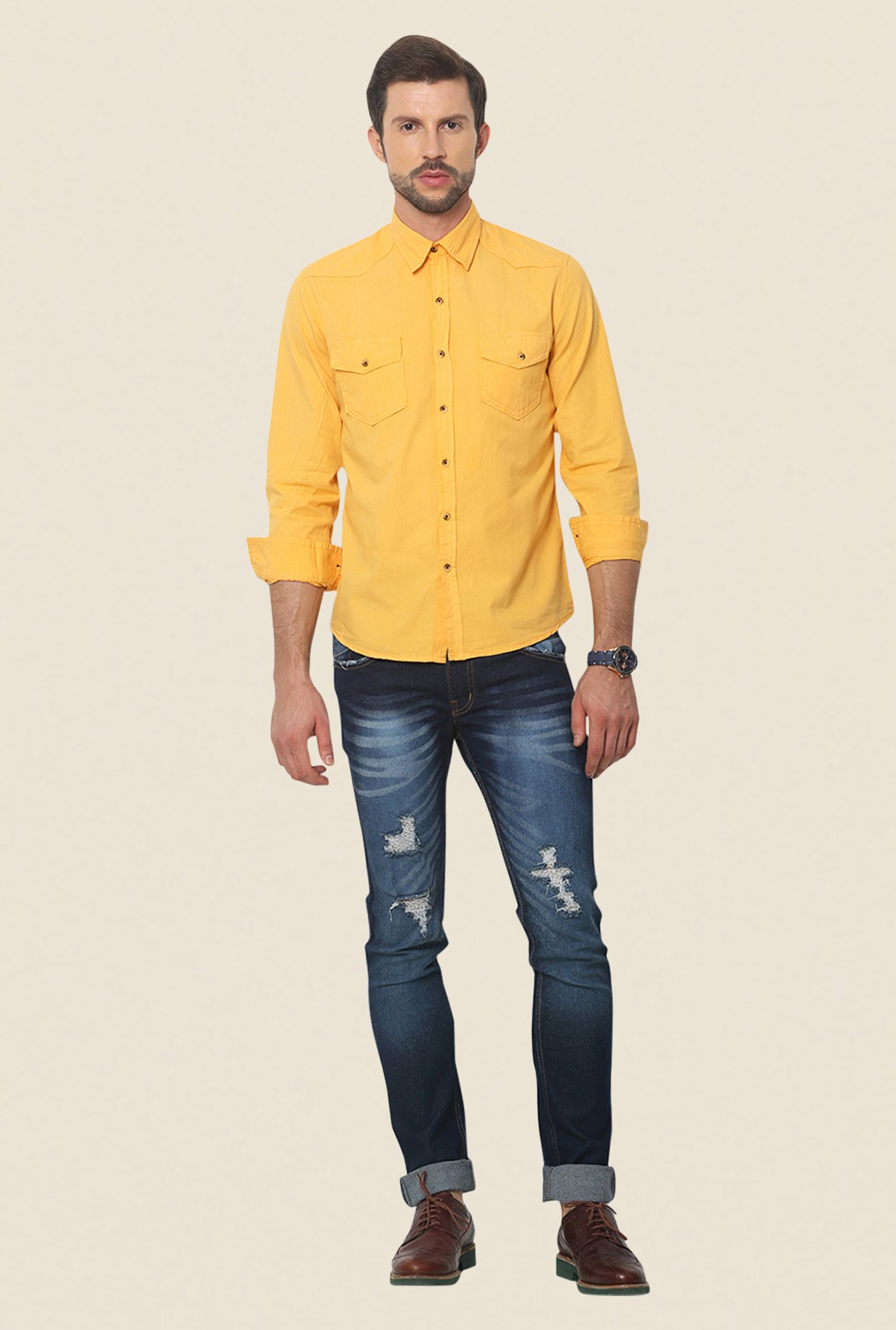 Yepme Dark Yellow Newman Pigment Overdyed Premium Shirt