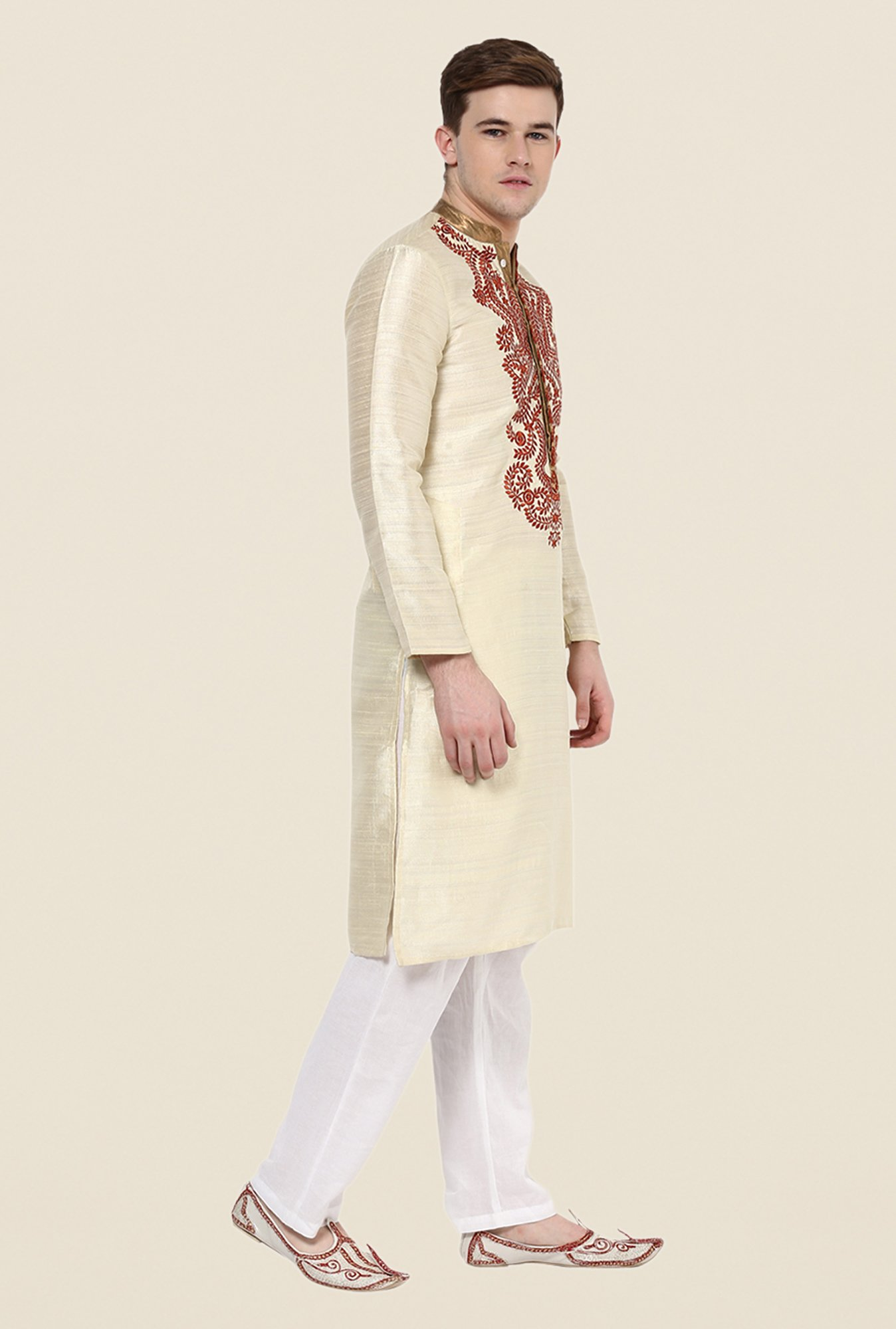 Yepme Beige Embroidered Kurta
