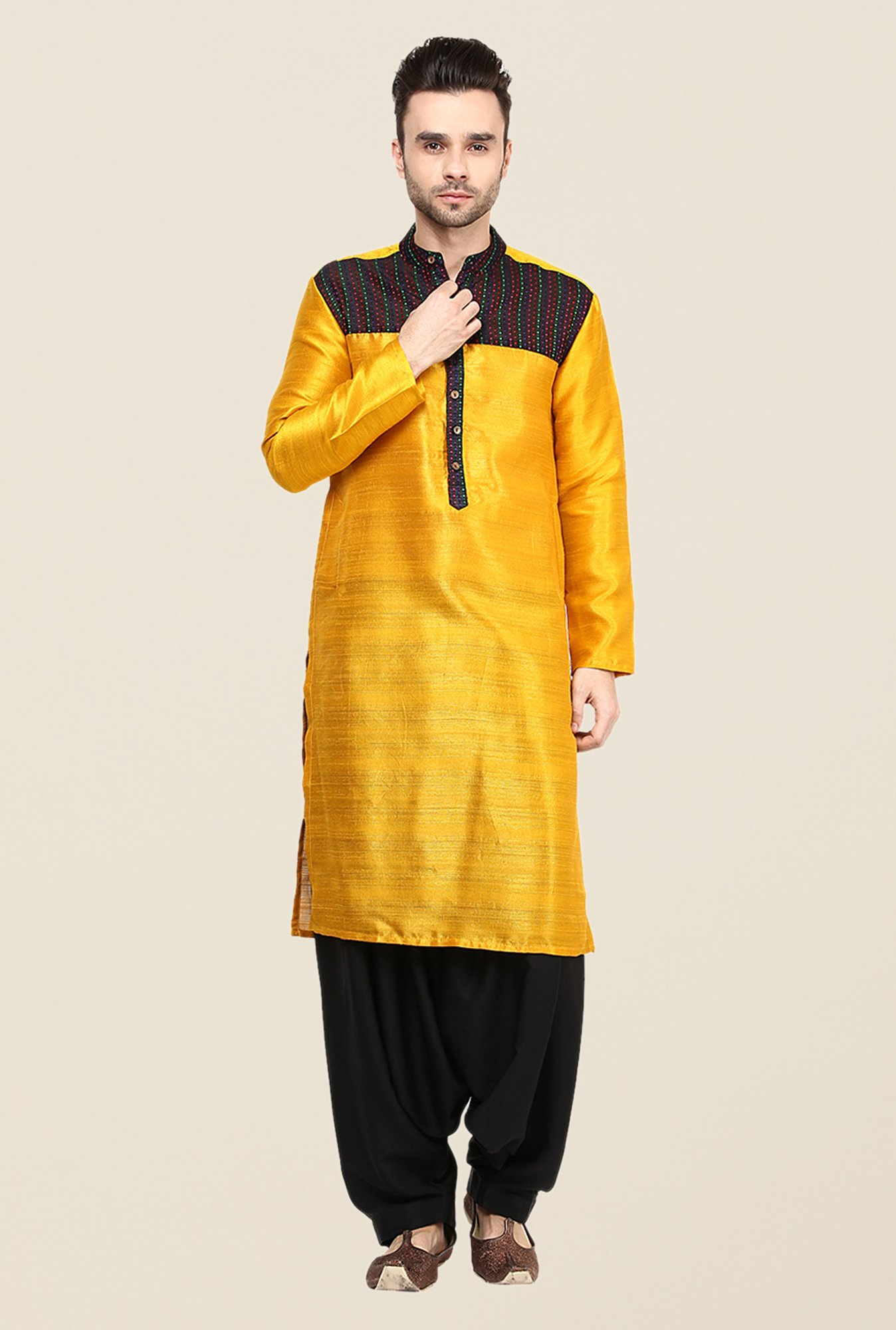 Yepme Yellow Grayson Printed Cotton Kurta