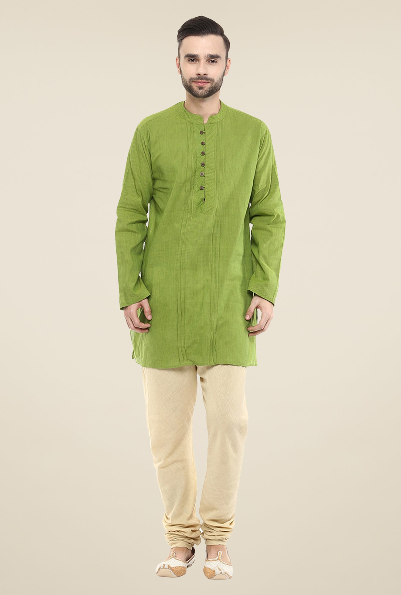 Yepme Green Brad Striped Cotton Kurta