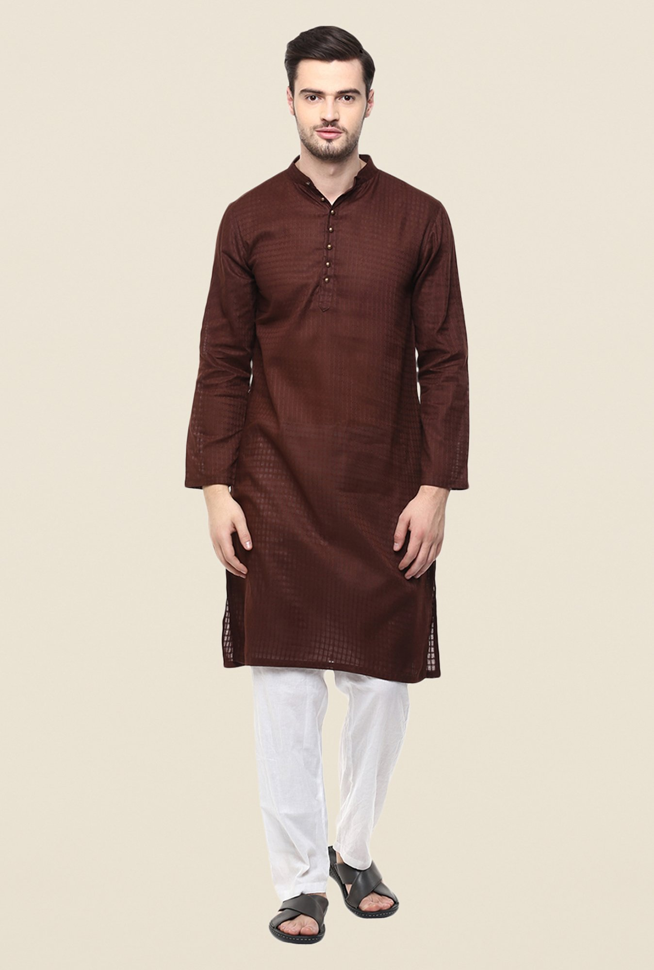 Yepme Brown Andrew Checks Cotton Kurta