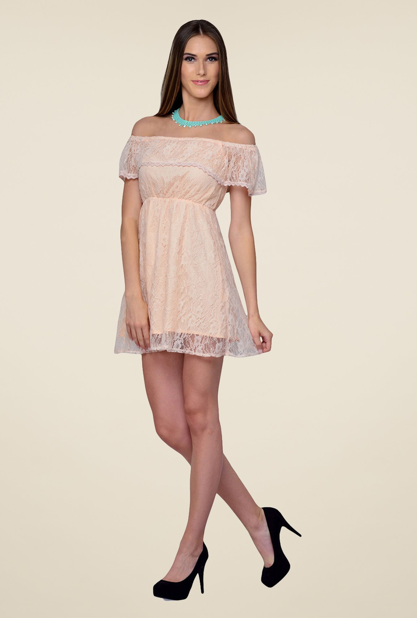 Yepme Peach June Lace Dress