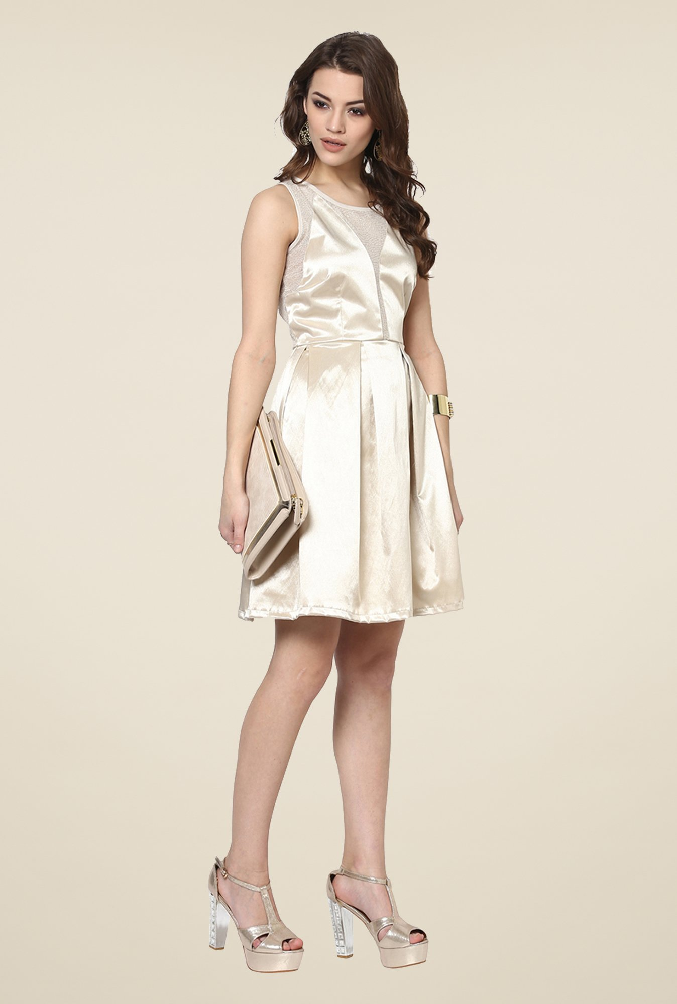 Yepme Beige Janet Solid Party Dress