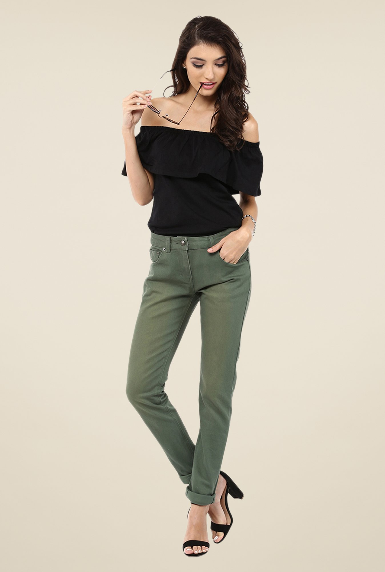Yepme Stella Green Solid Drill Chinos