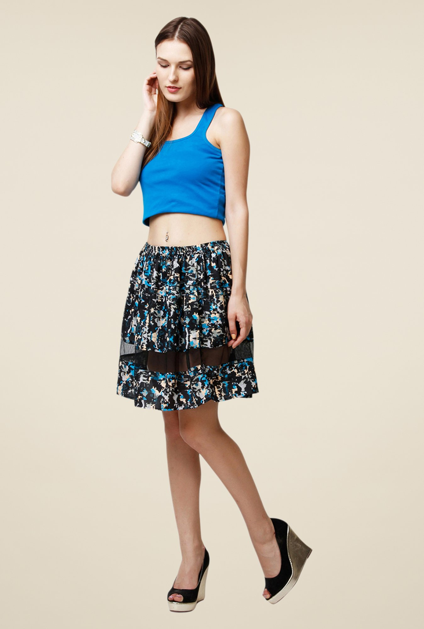Yepme Arianny Multicolor Sheer Panel Skirt