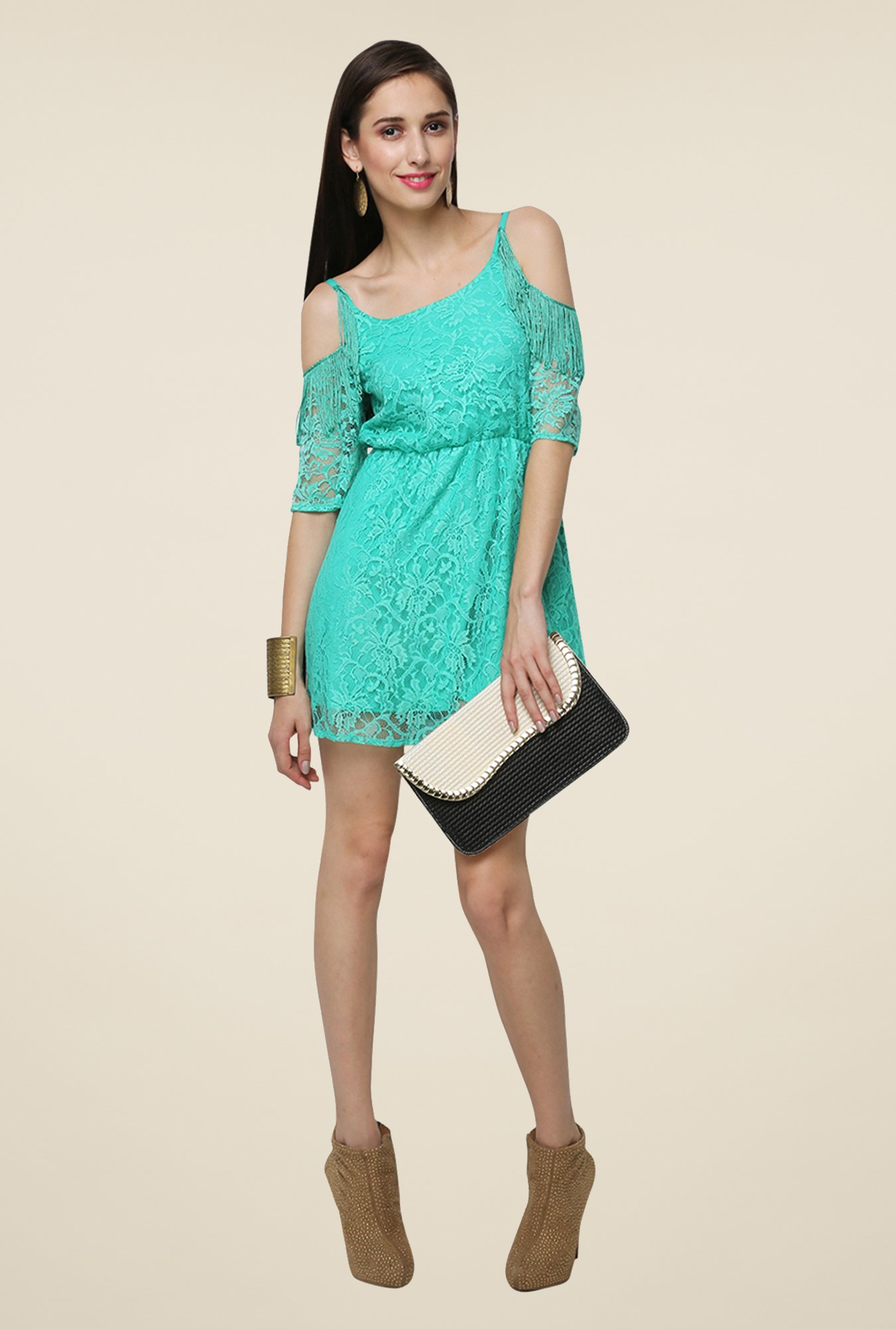 Yepme Turquoise Fiona Lace Dress