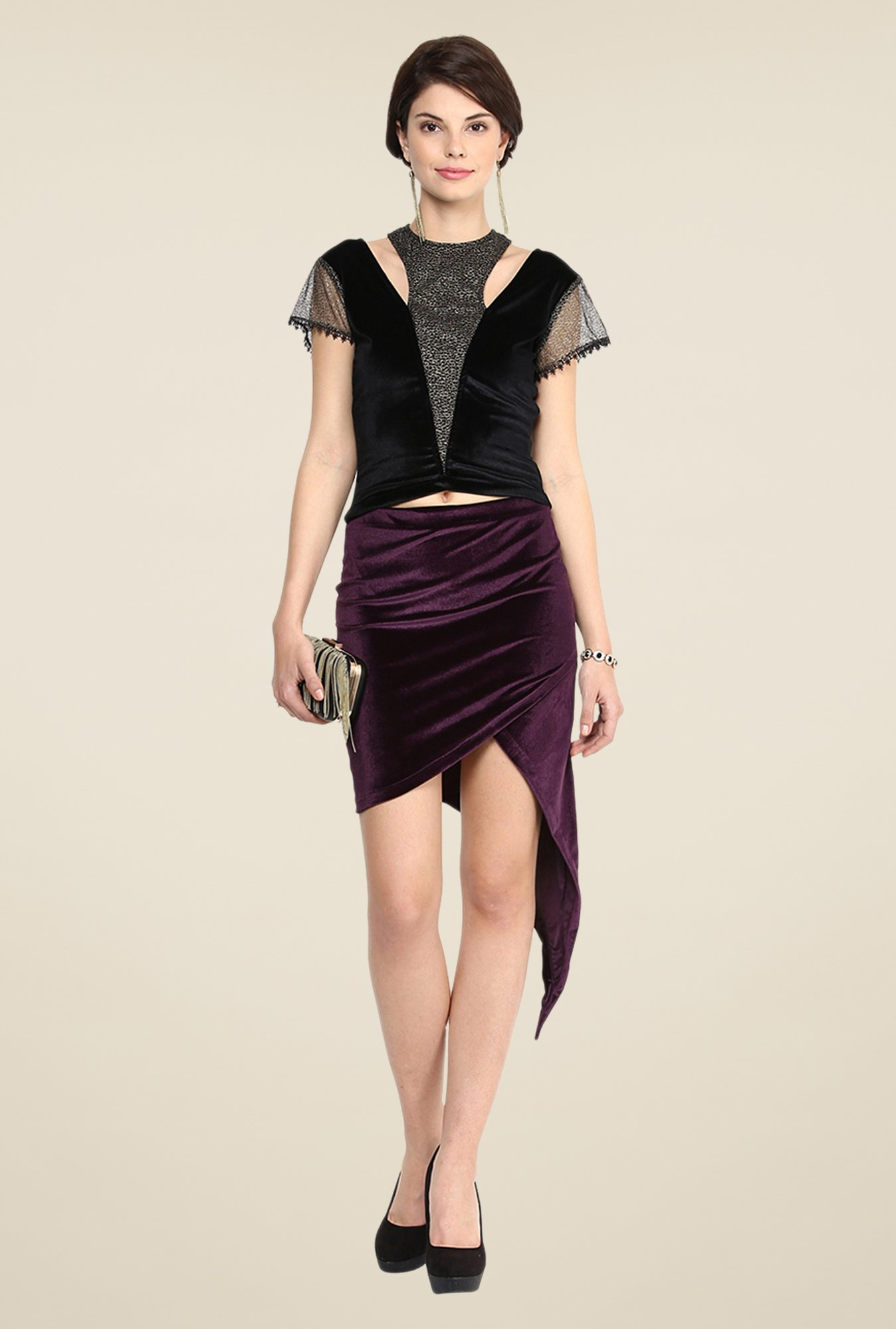 Yepme Hellen Purple Solid Party Skirt
