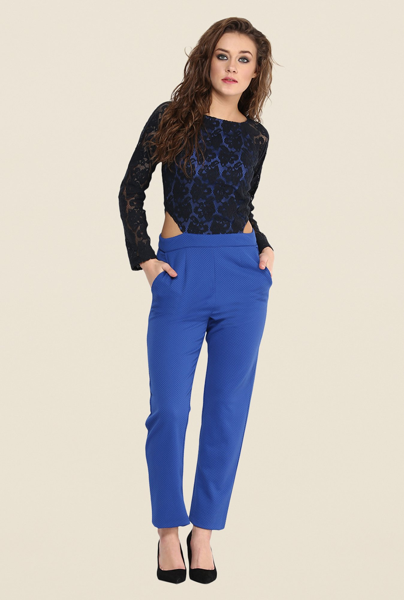 Yepme Marie Blue & Black Jumpsuit