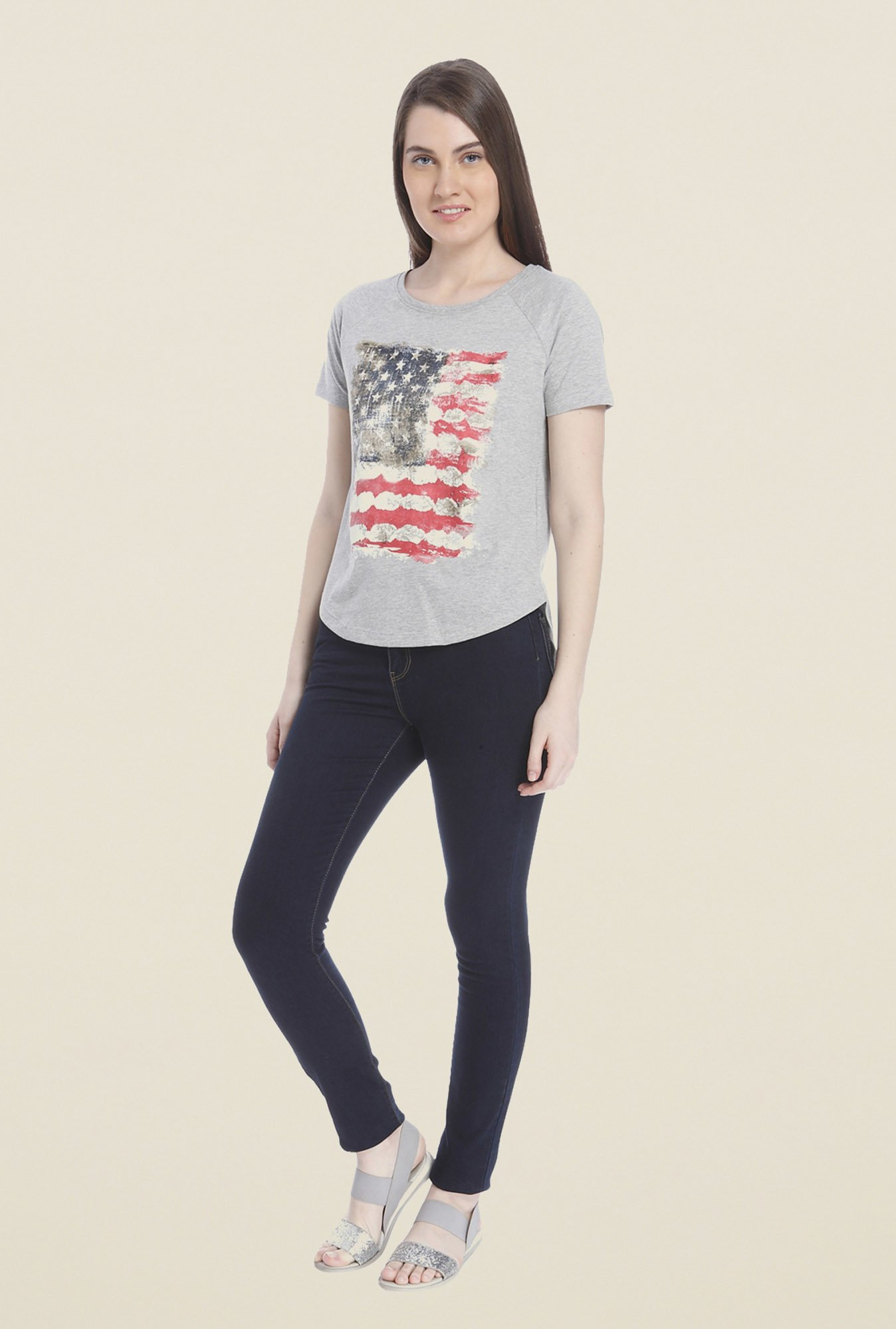 Vero Moda Grey Printed T-shirt