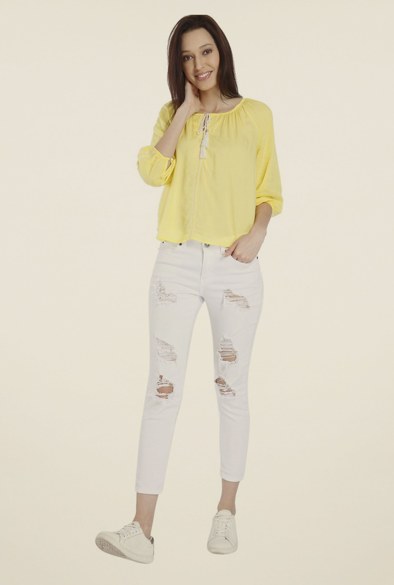 Vero Moda Yellow Solid Top