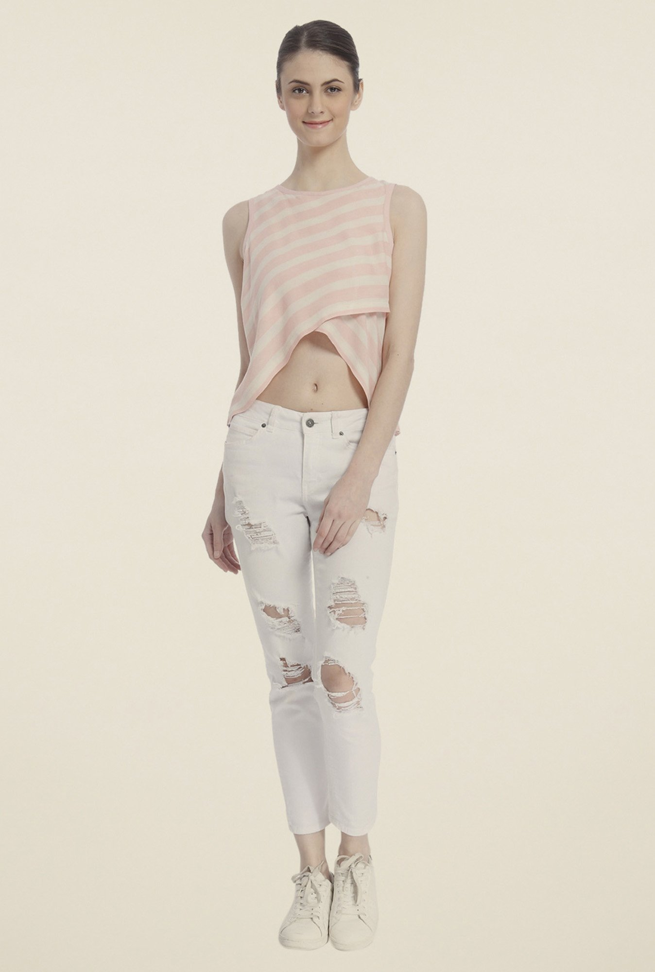 Vero Moda Peach & White Striped Top