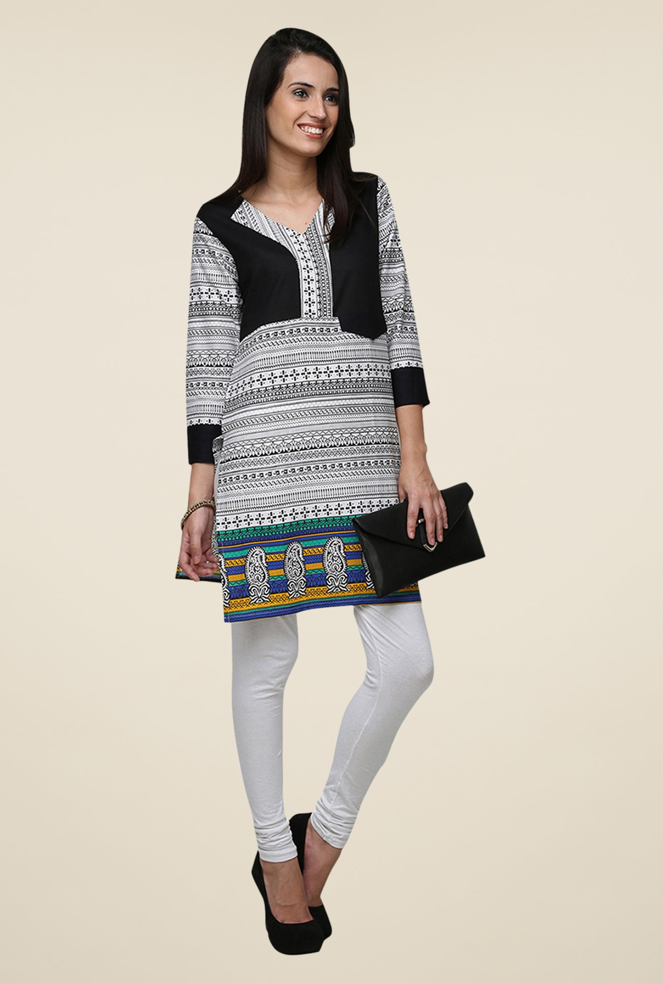 Yepme Black & White Zeal Tribal Print Kurti