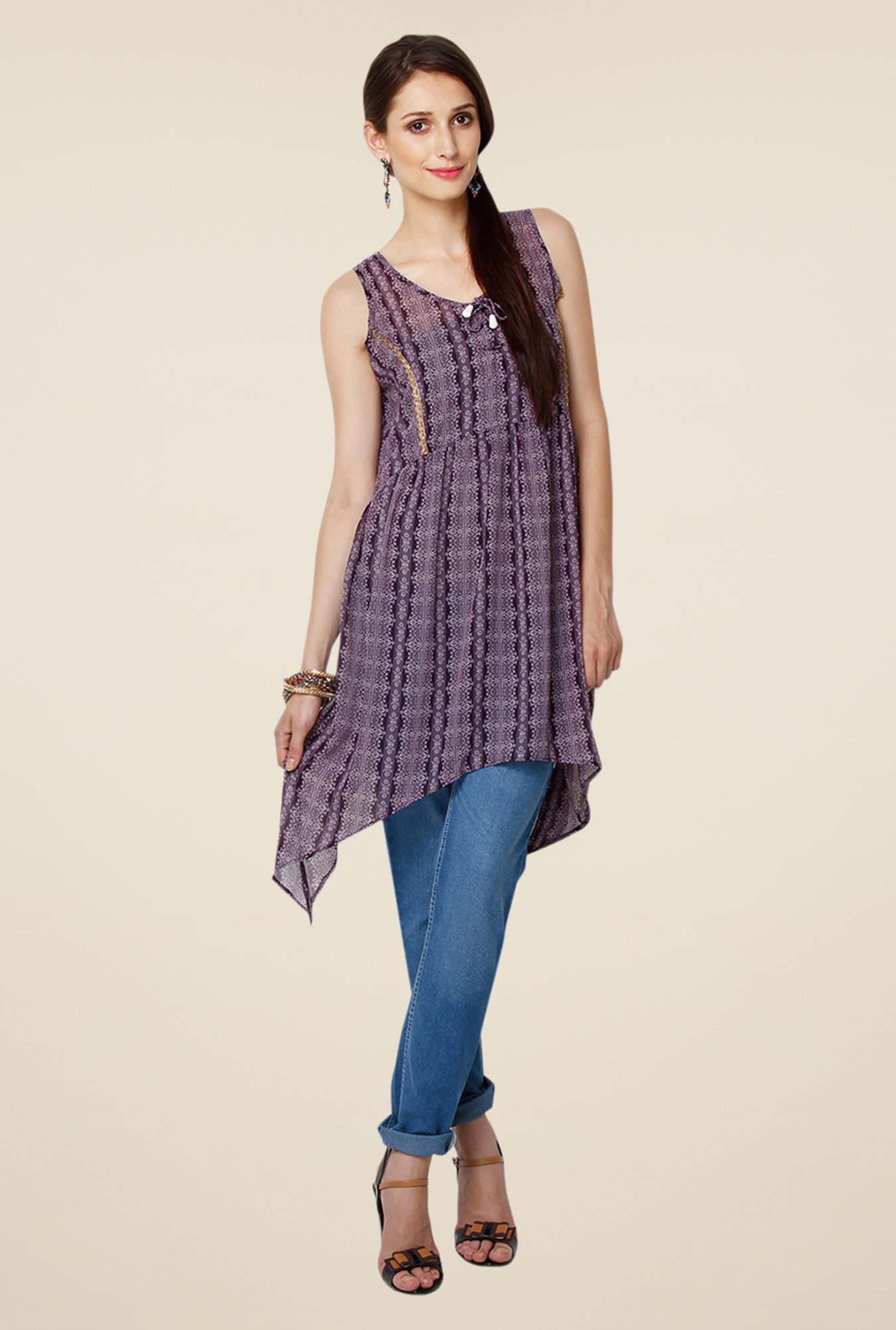 Yepme Multicolor Stacy Asymmetrical Kurti