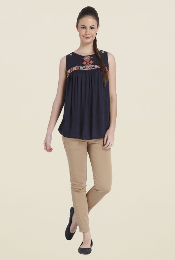 Only Navy Embroidery Top