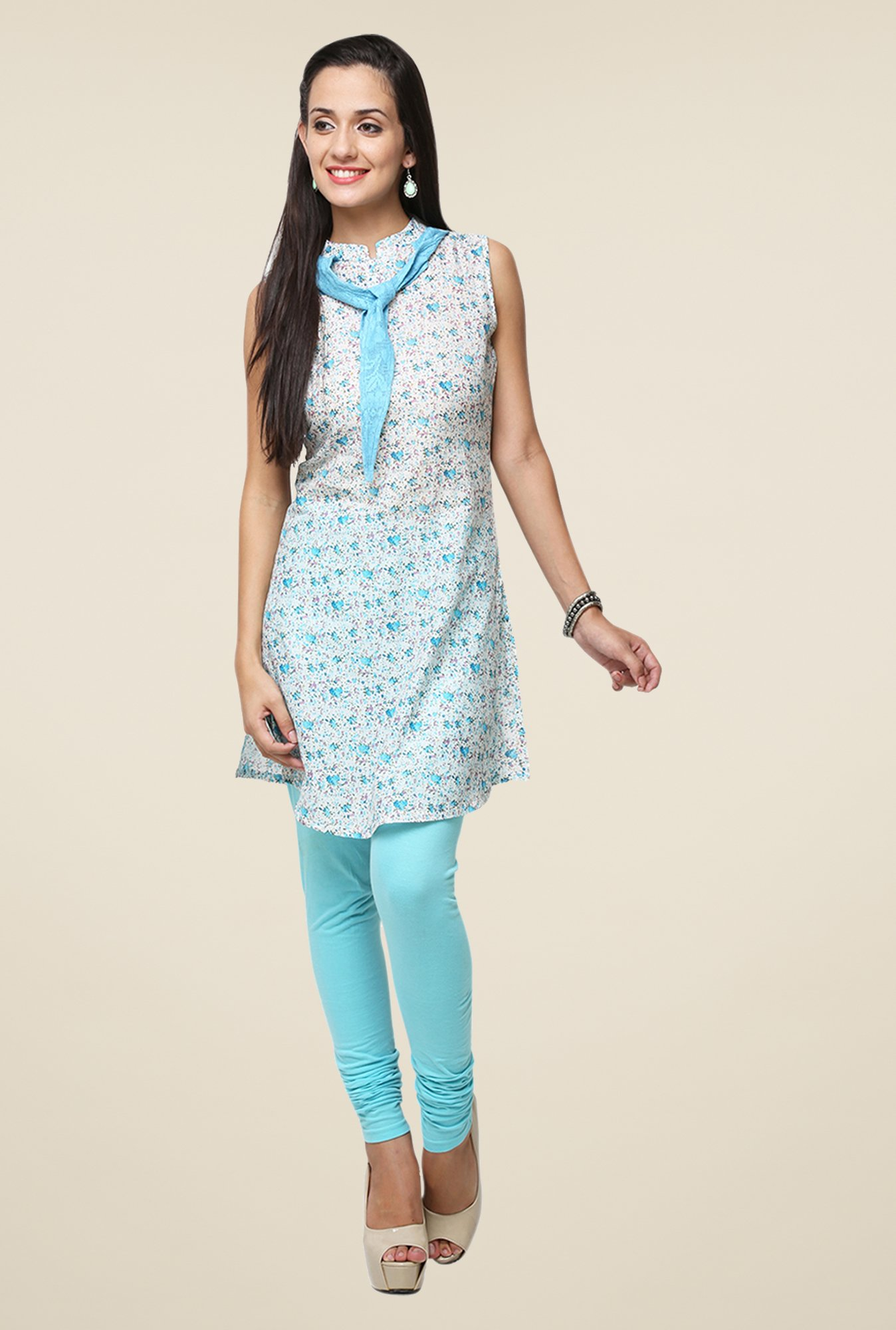 Yepme White & Blue Lina Tie-Up Kurti