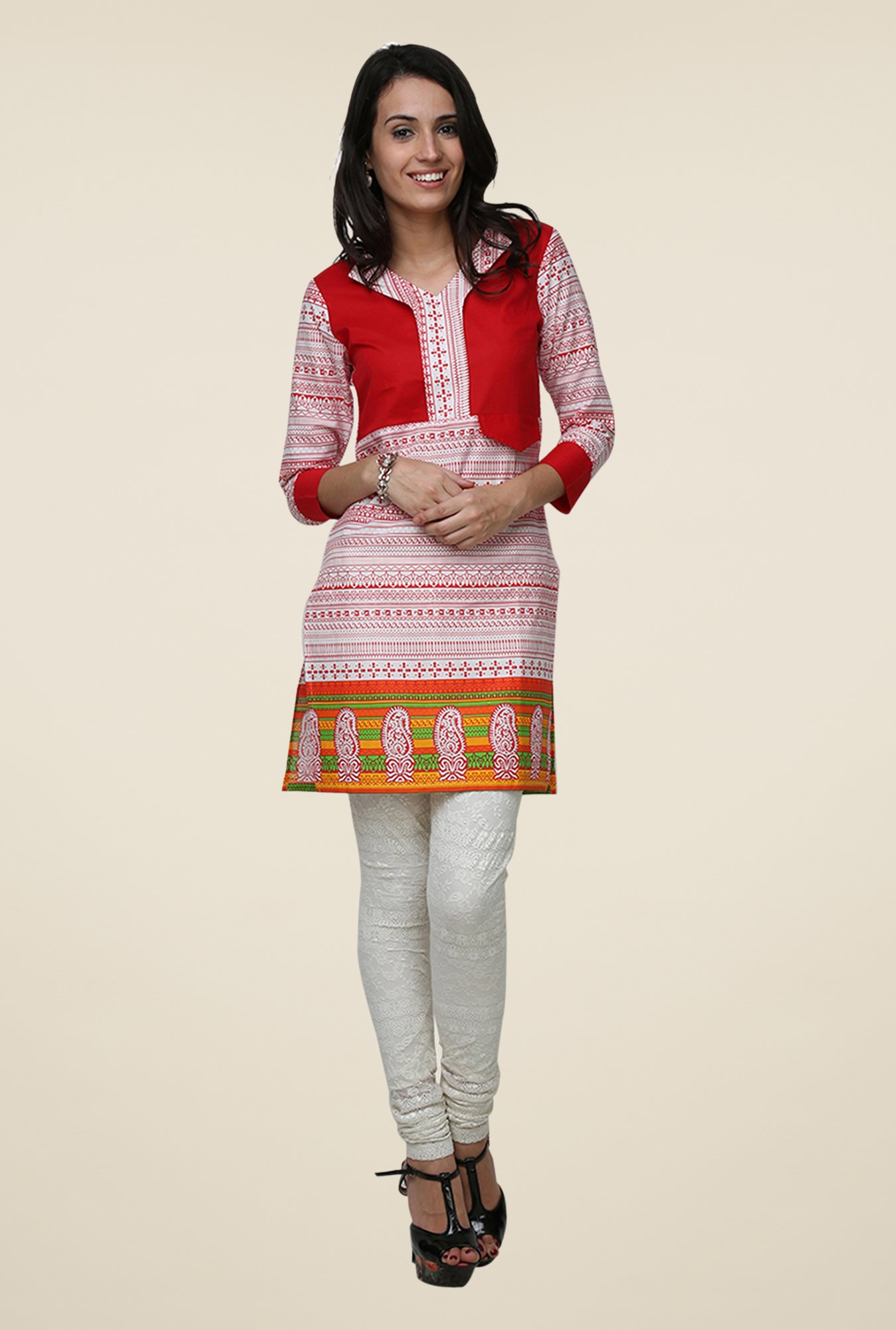 Yepme Red & White Zeal Tribal Print Kurti