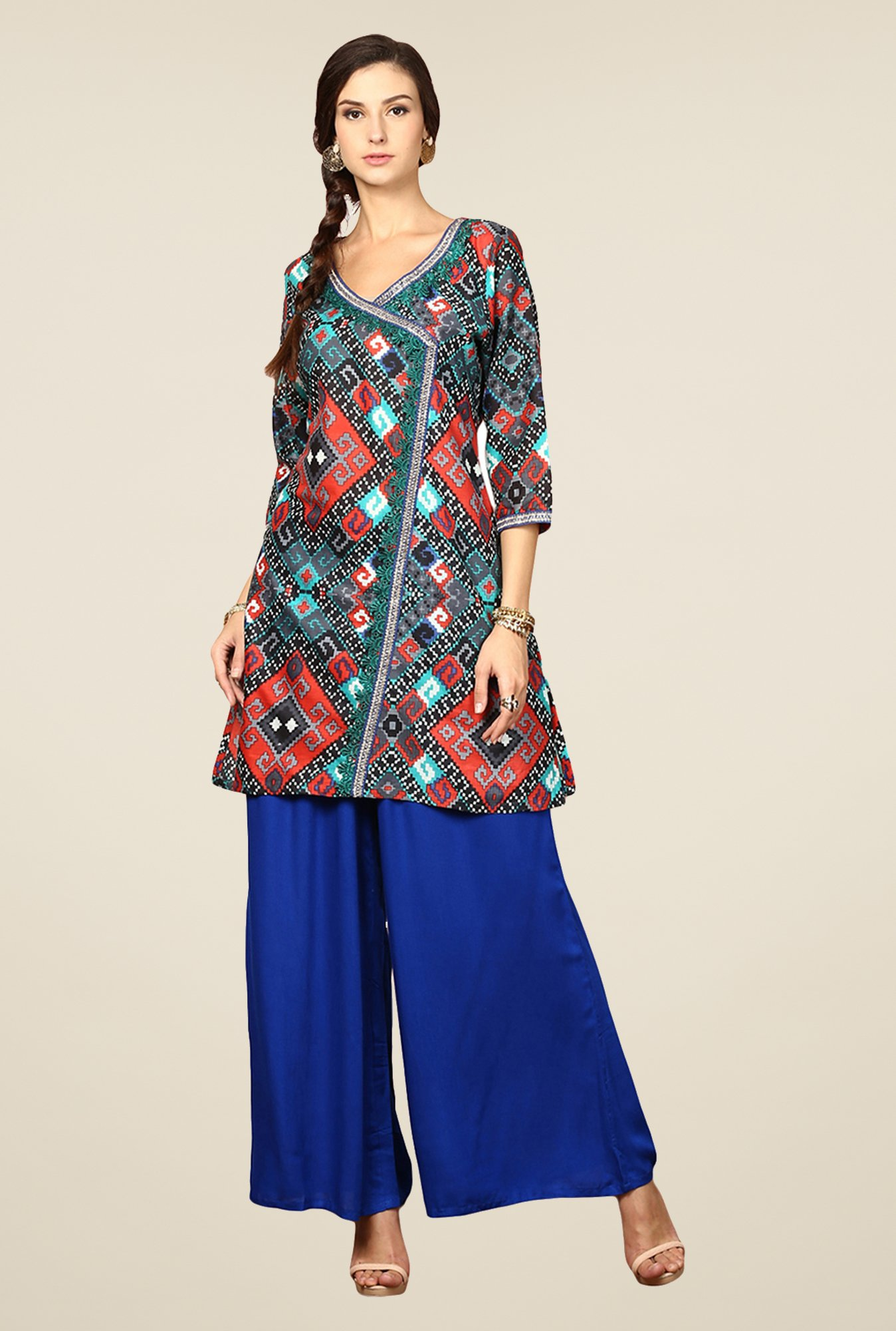 Yepme Cally Multicolor Printed Angrakha Kurti