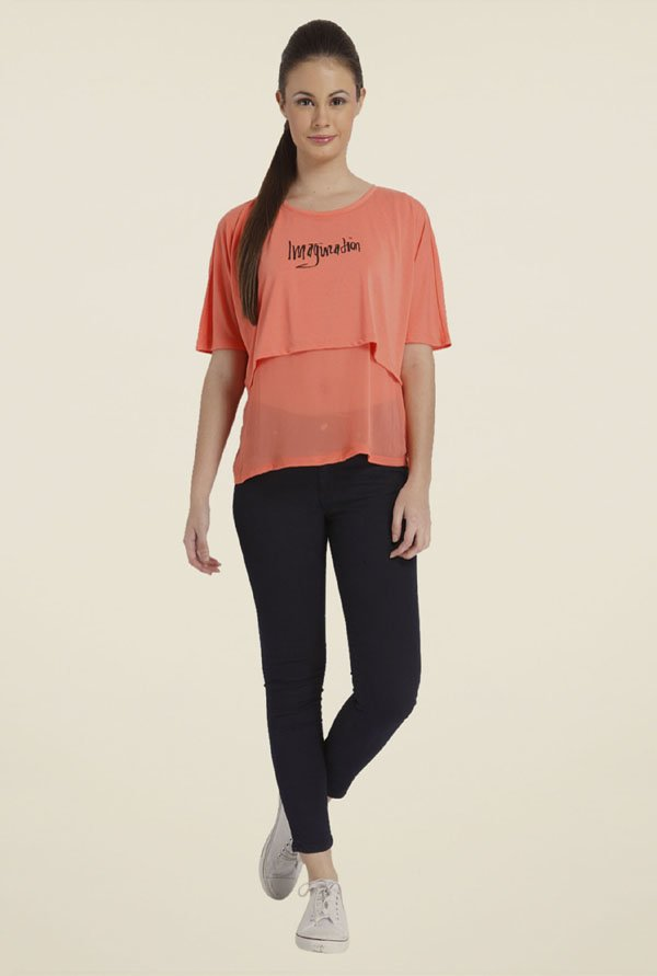 Only Coral Graphic Top