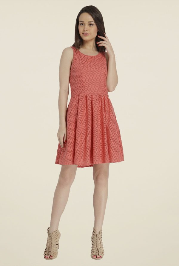 Only Coral Self Print Dress