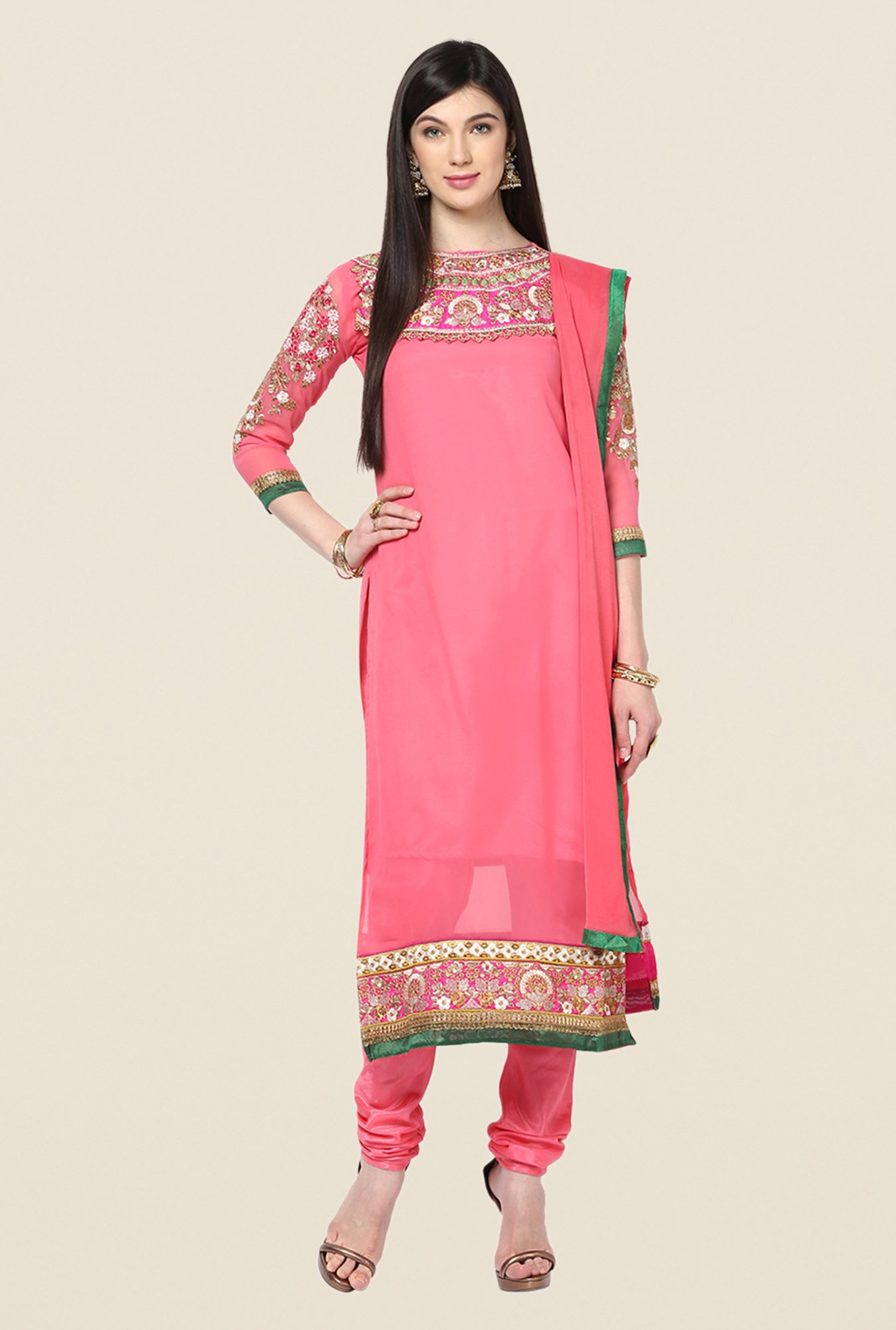 Yepme Pink Basia Unstitched Suit Set