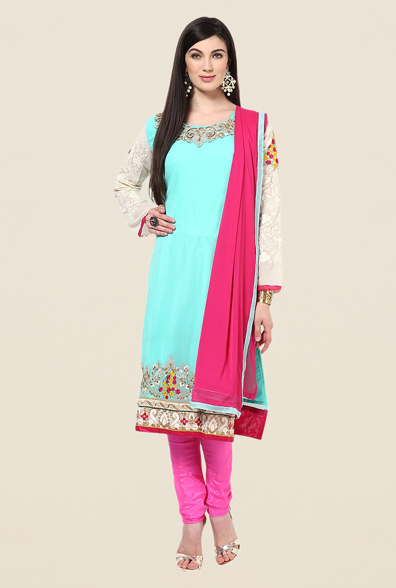 Yepme Blue & Pink Basia Unstitched Suit Set