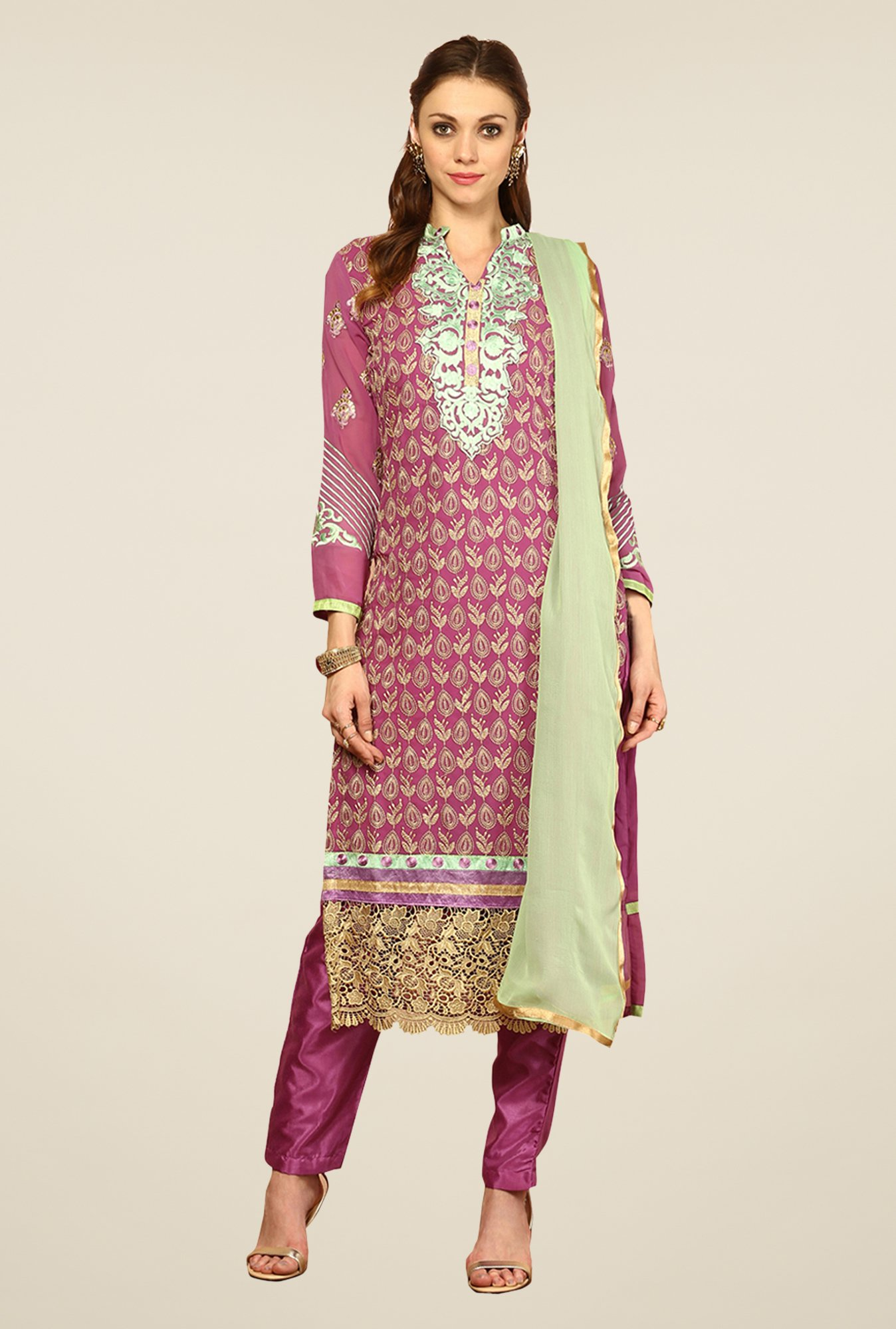 Yepme Purple Romana Unstitched Suit Set