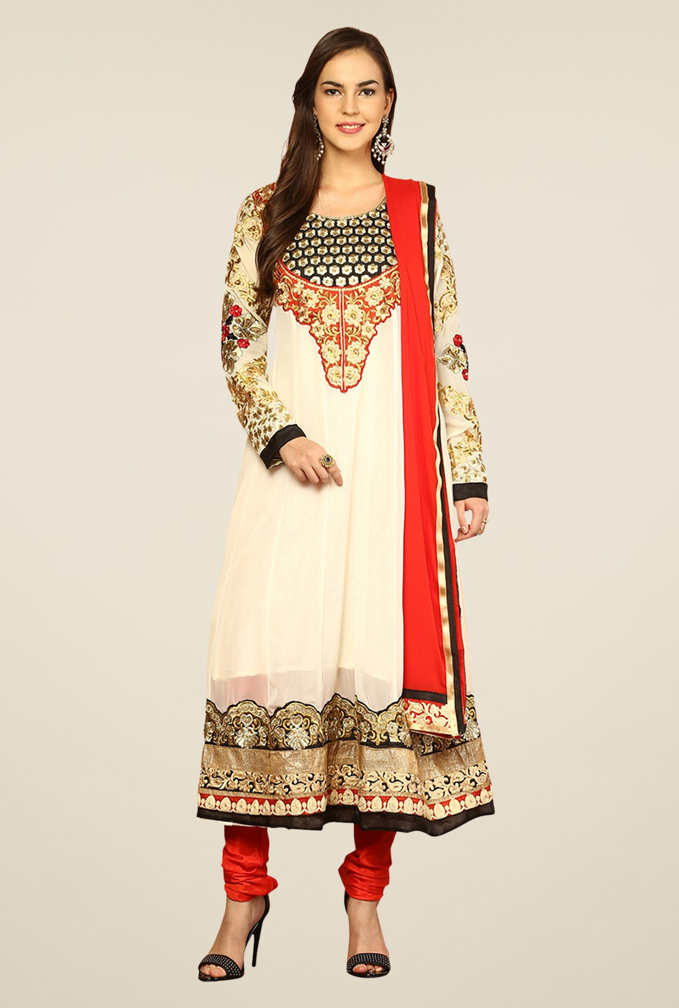 Yepme Ecru & Red Elegance Unstitched Suit Set