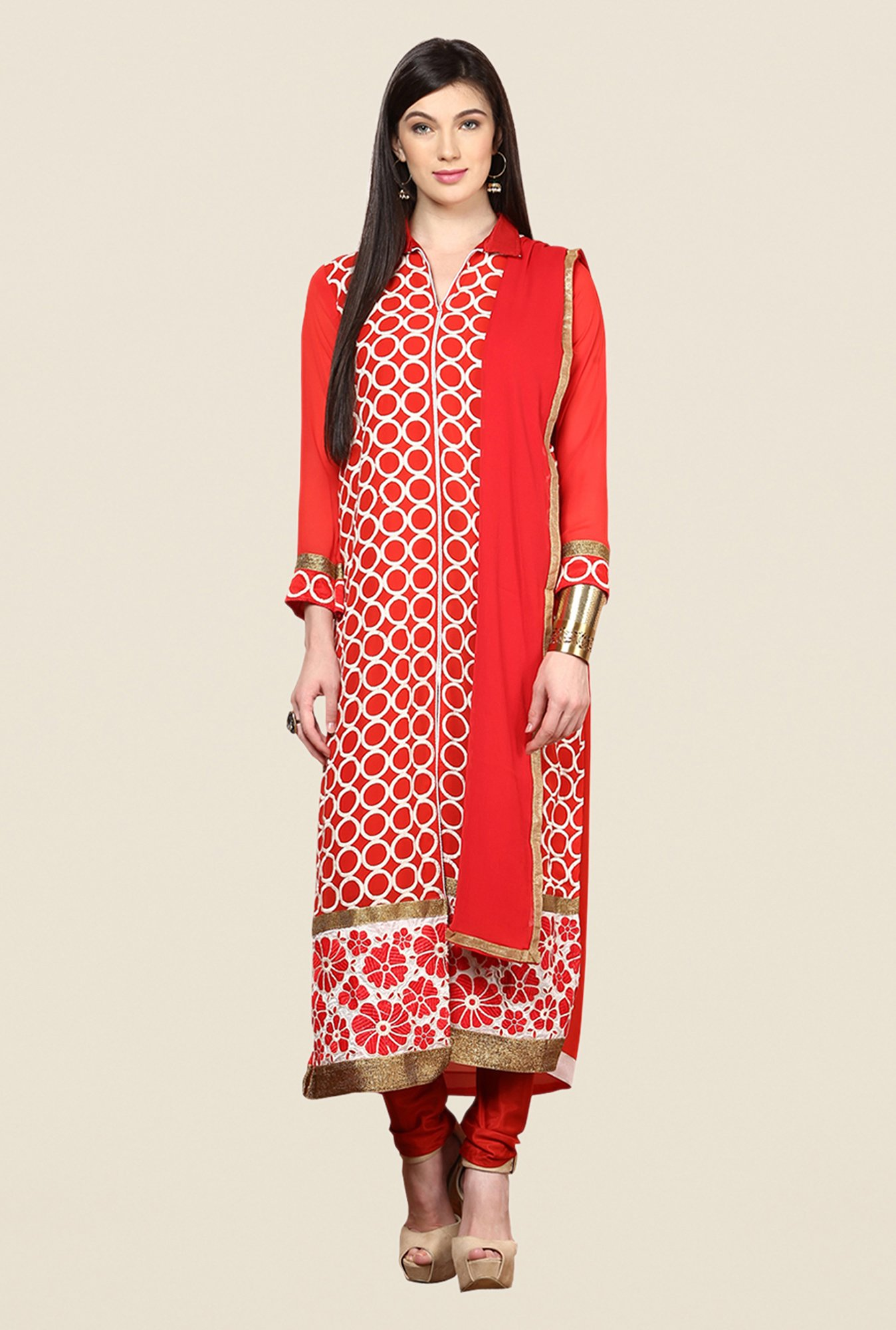 Yepme Red Barabal Unstitched Suit Set