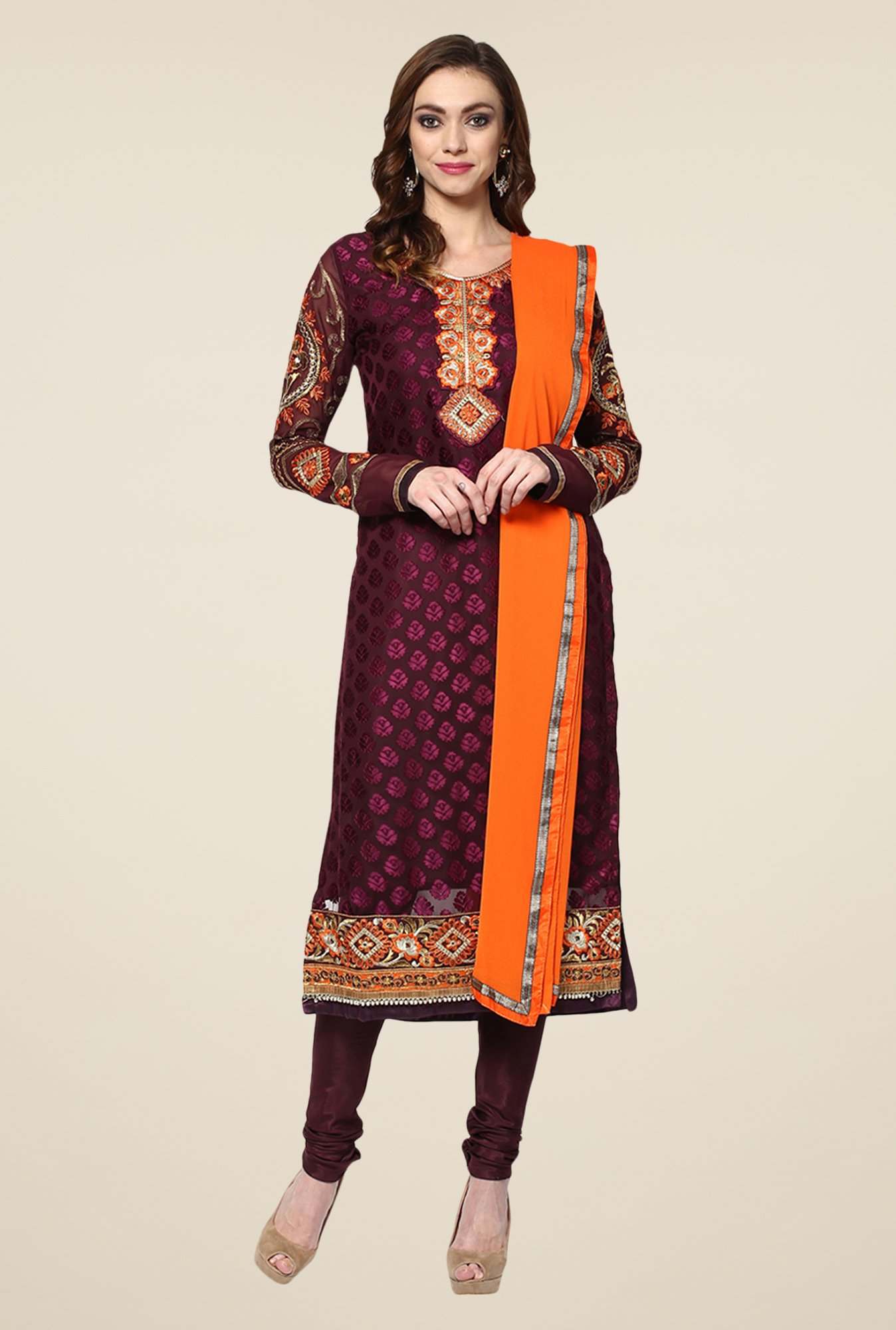 Yepme Wine Ebele Semi Stitched Suit Set
