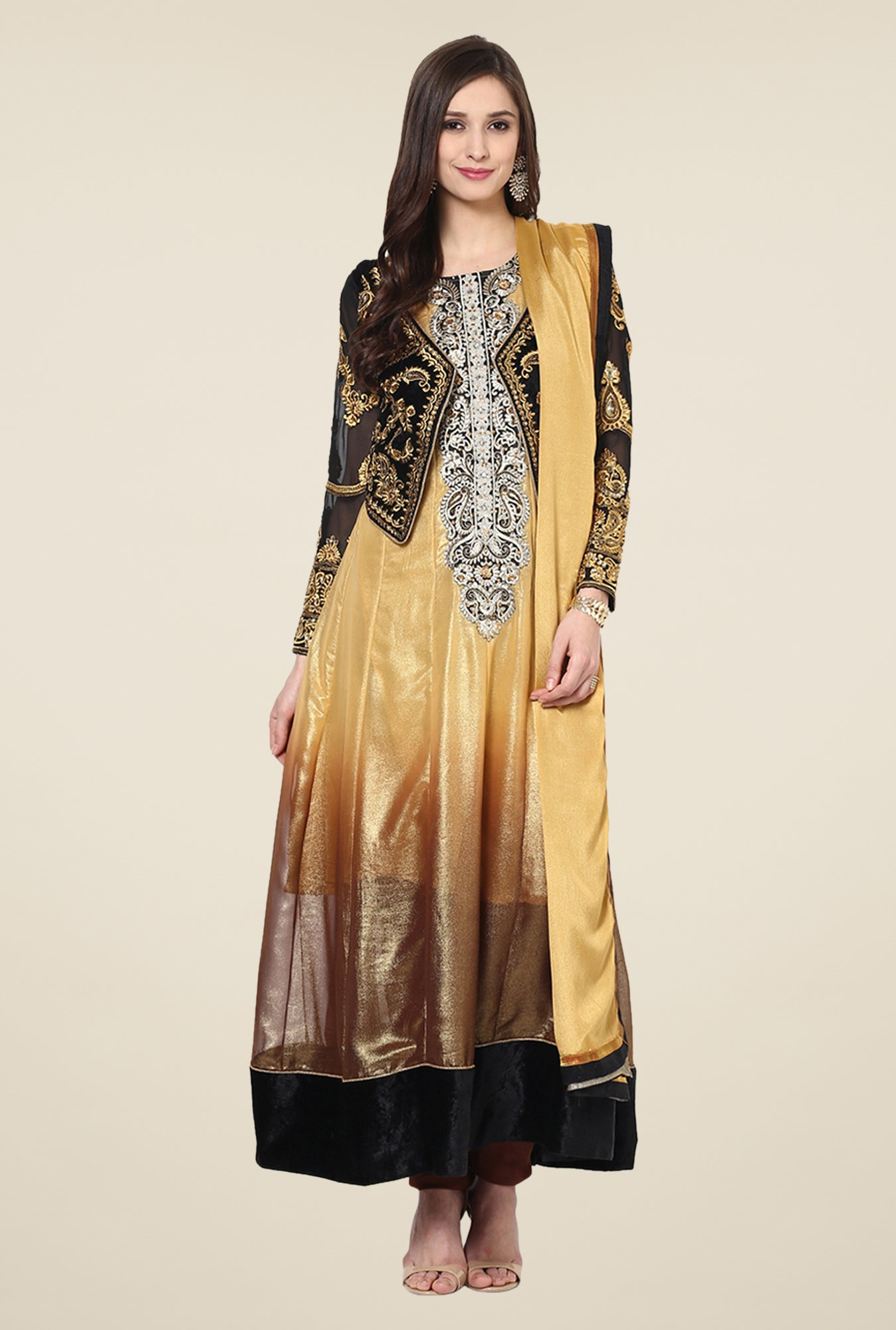 Yepme Gold & Black Beatrix Semi Stitched Suit Set