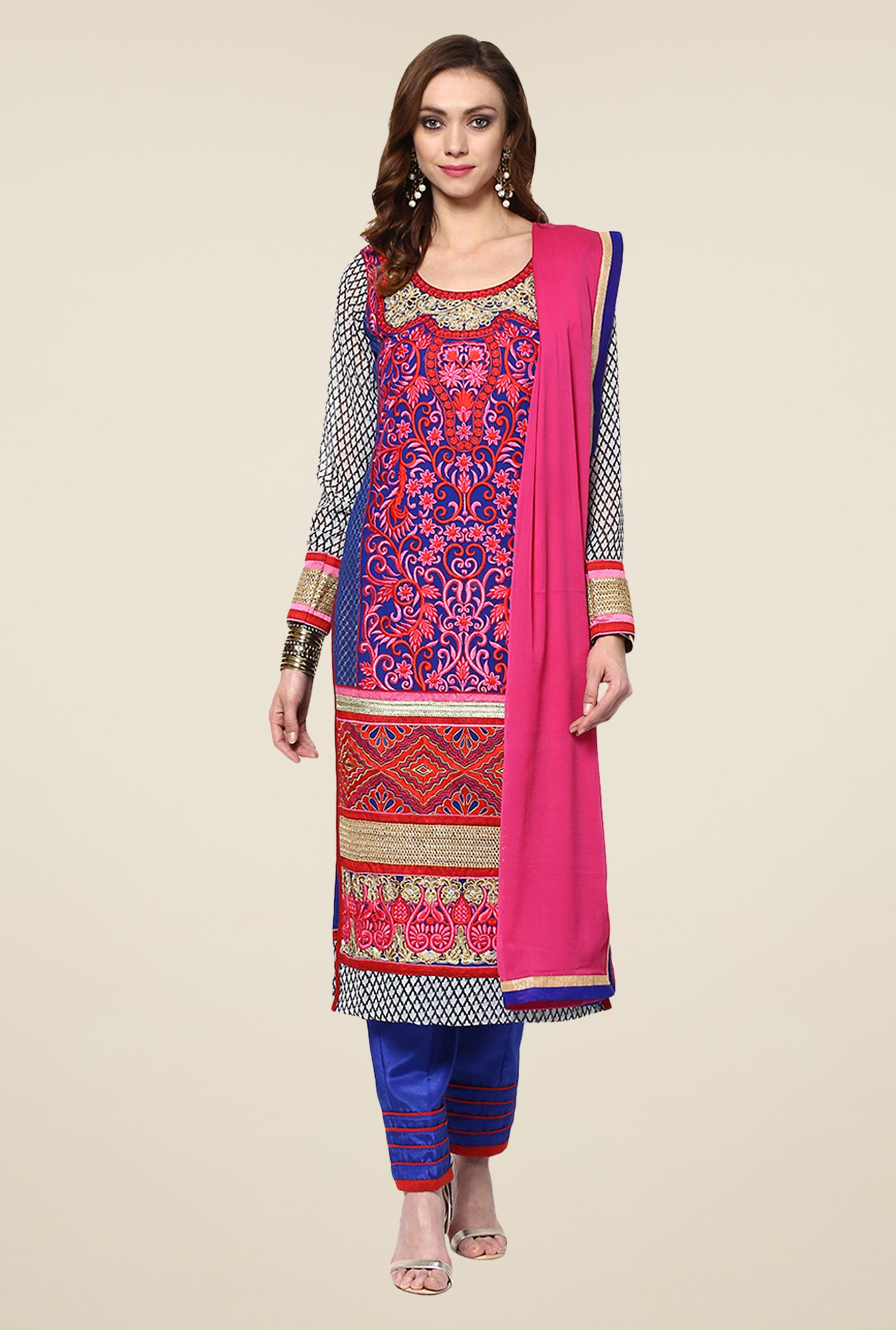 Yepme Blue & Pink Ulrika Semi Stitched Suit Set